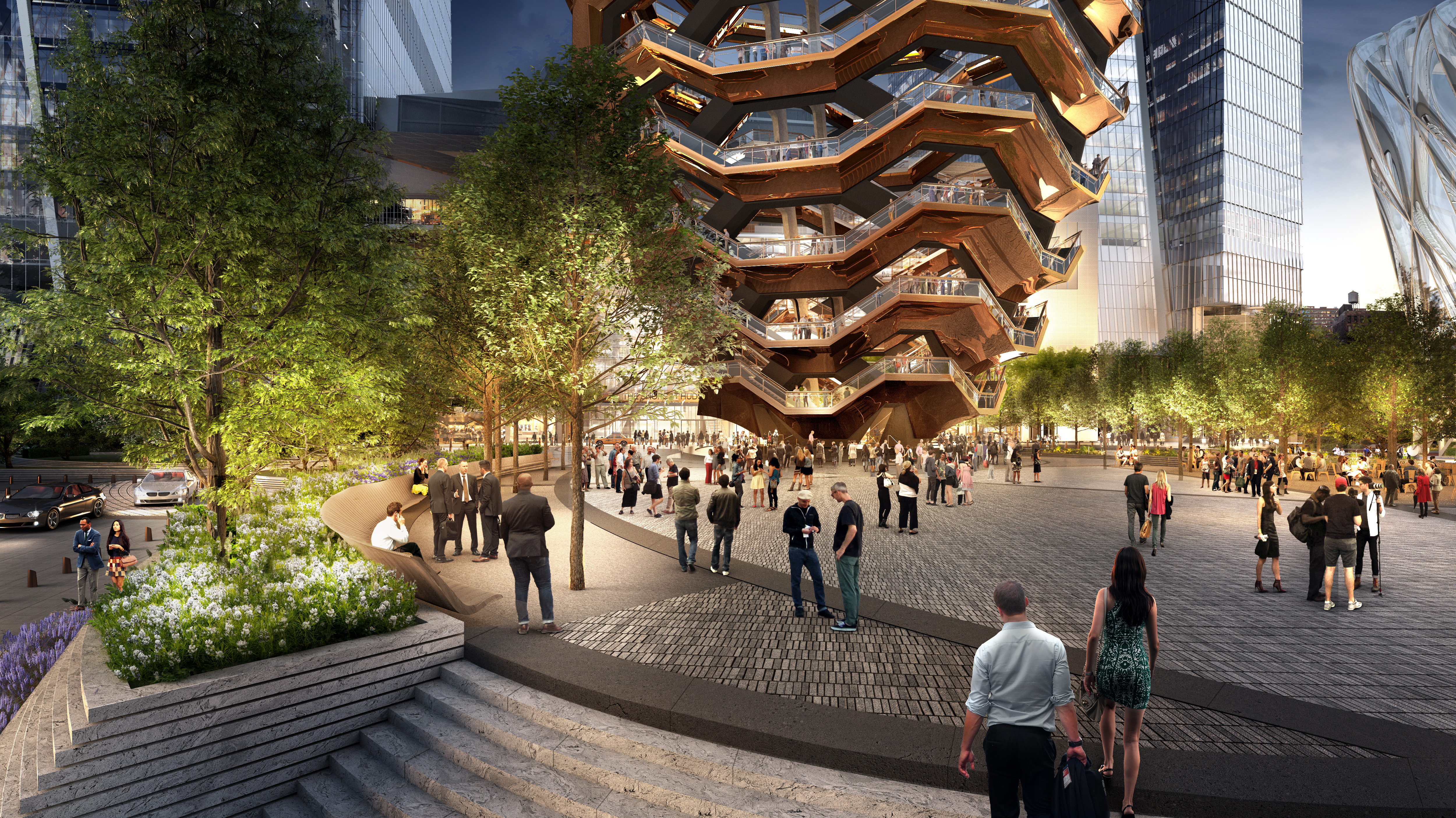 """An artist's rendering of the plaza at Hudson Yards, featuring """"The Vessel,"""" a public artwork scheduled to open in late 2018."""