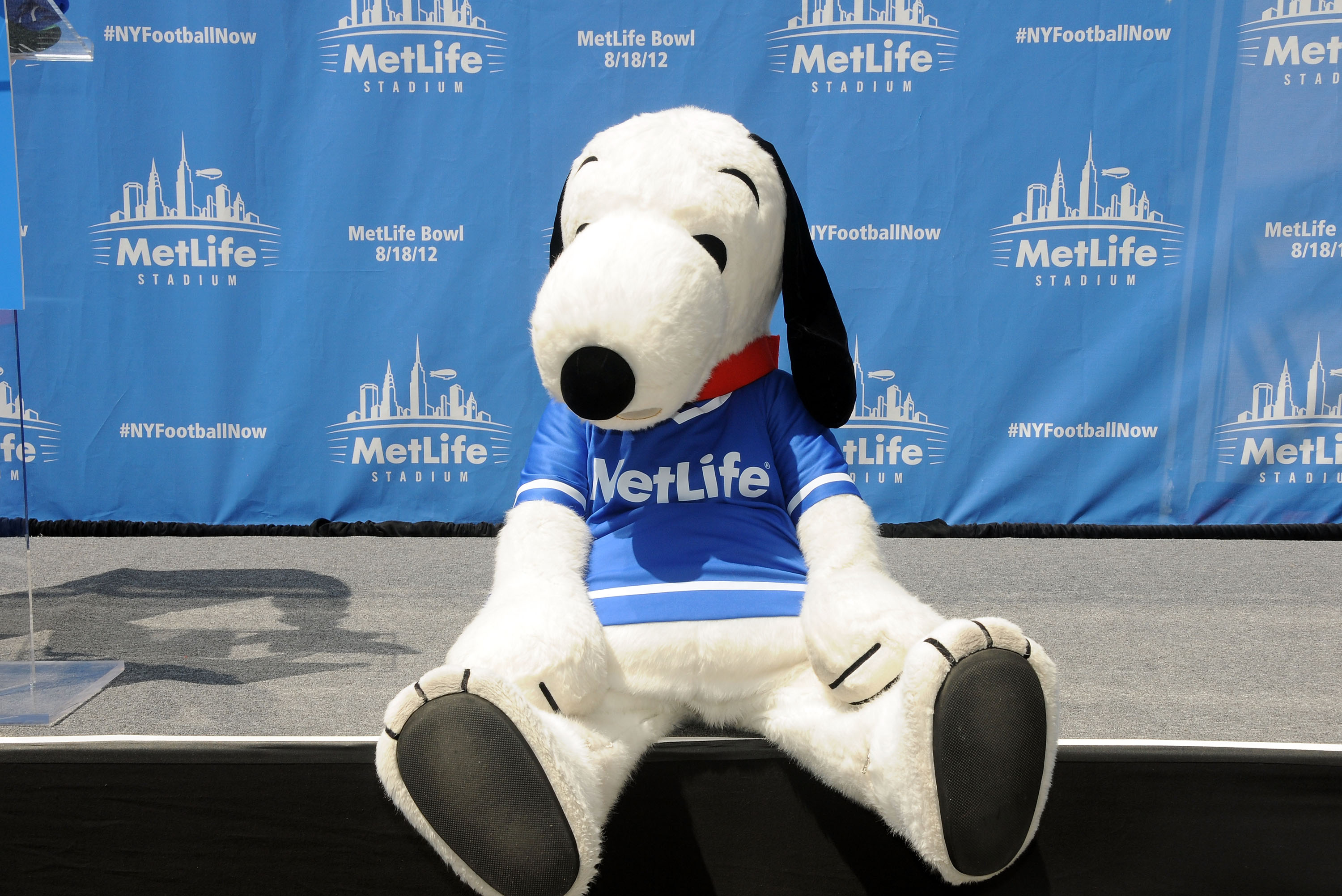 Mascot Snoopy poses at the MetLife Building on August 16, 2012 in New York City.