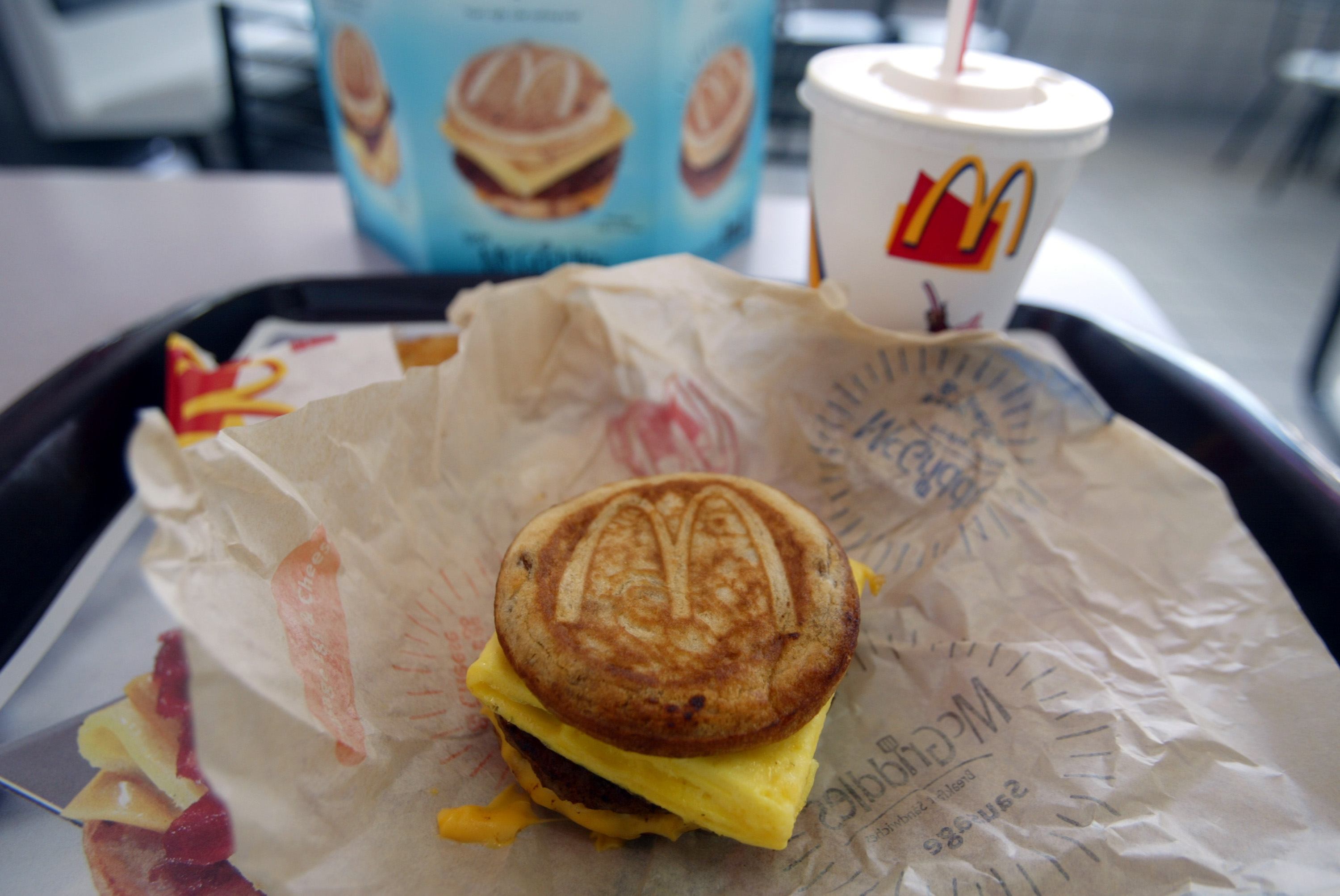 A cheese, sausage and egg McGriddles breakfast sandwich at a McDonald's is shown June 12, 2003 in Coral Gables, Florida.
