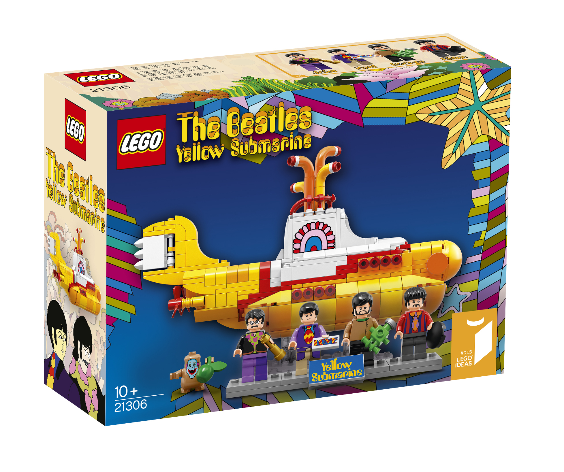 "LEGO's version of The Beatles' Yellow Submarine features mini figures of the band members and ""loads of cool, authentic details."""
