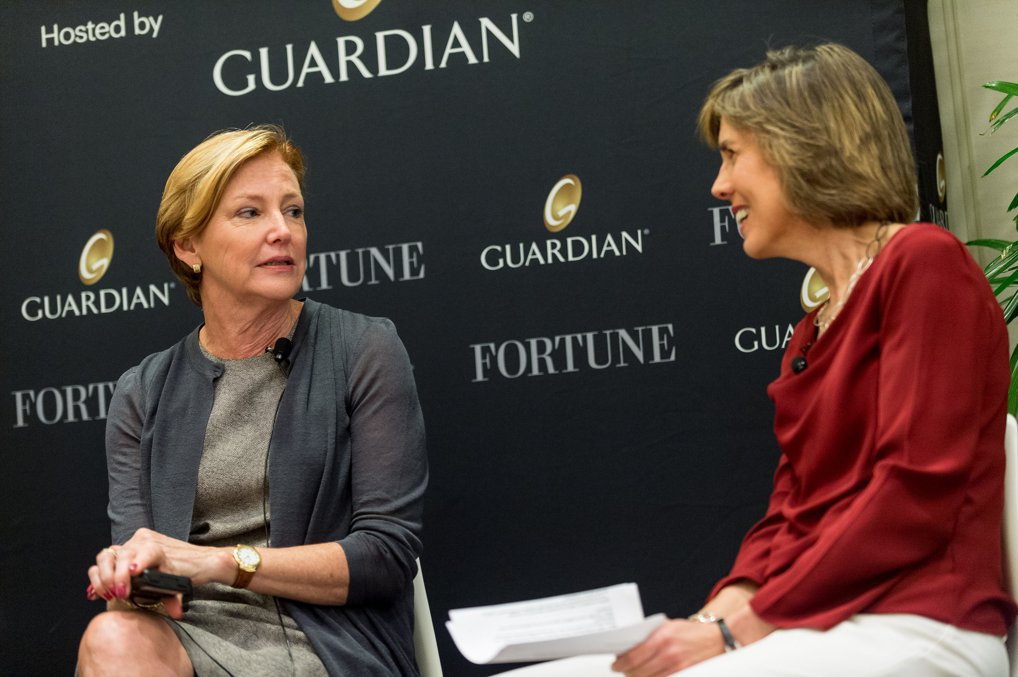 Ellen Kullman, Retired Chair and CEO, DuPont; Director, Carbon; and Pattie Sellers, Fortune at the Fortune Most Powerful Women Summit 2016 on Tuesday, October 18th, 2016 Laguna Niguel, CA