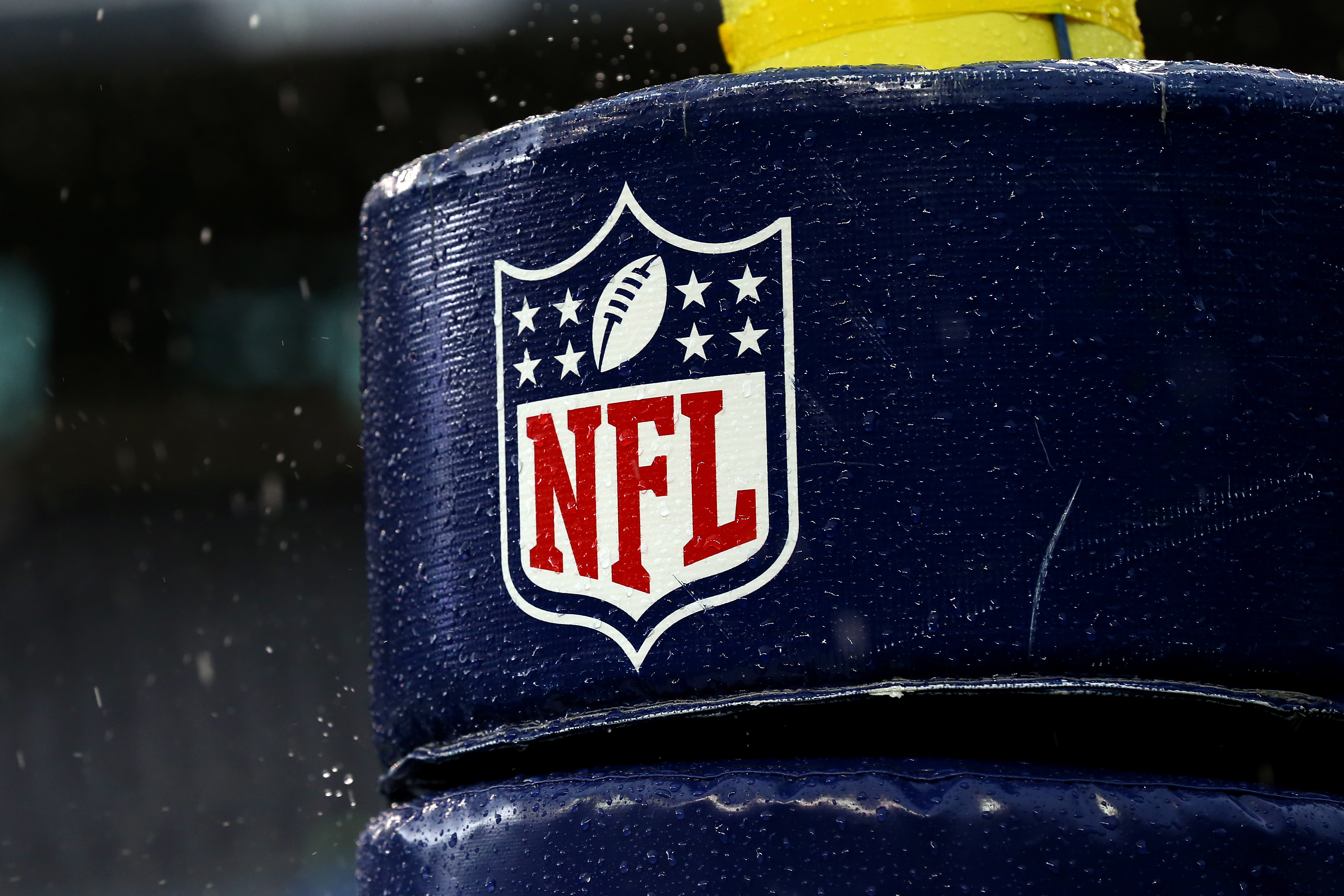 Image of the NFL logo on a goal post before the 2015 NFC Championship game between the Seattle Seahawks and the Green Bay Packers at CenturyLink Field in Seattle, Washington.