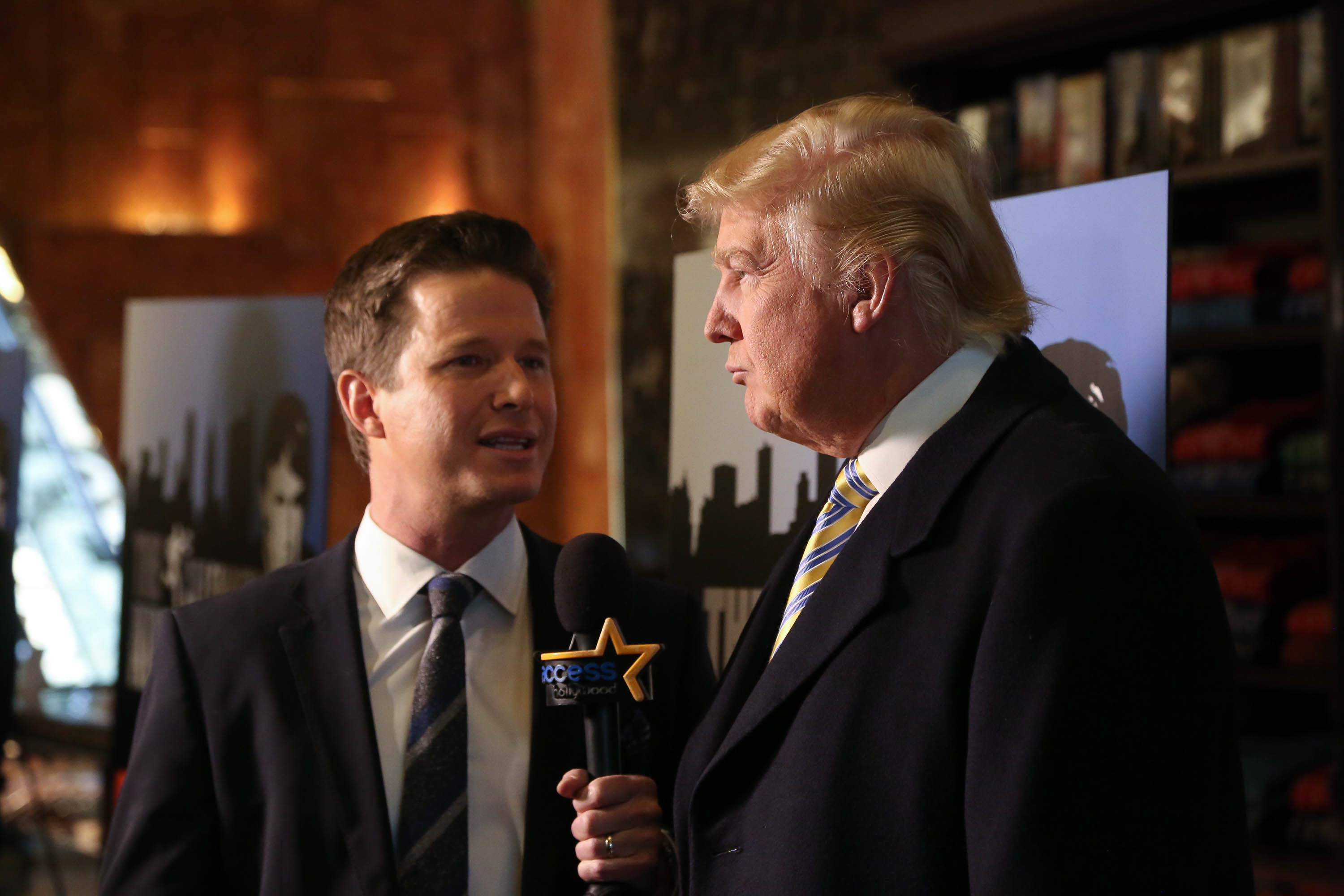 Billy Bush of Access Hollywood interviews Donald Trump at a 'Celebrity Apprentice' in 2015.