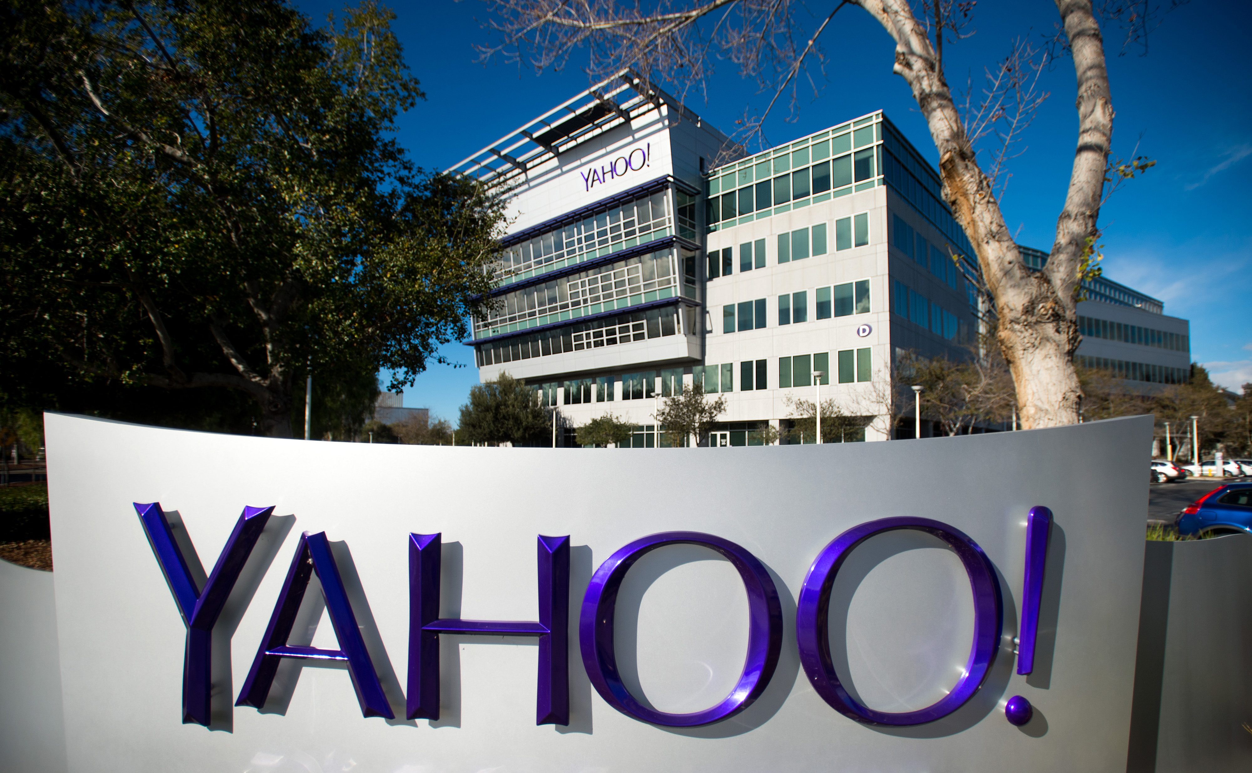 Yahoo's signage is displayed at the company's headquarters in California.