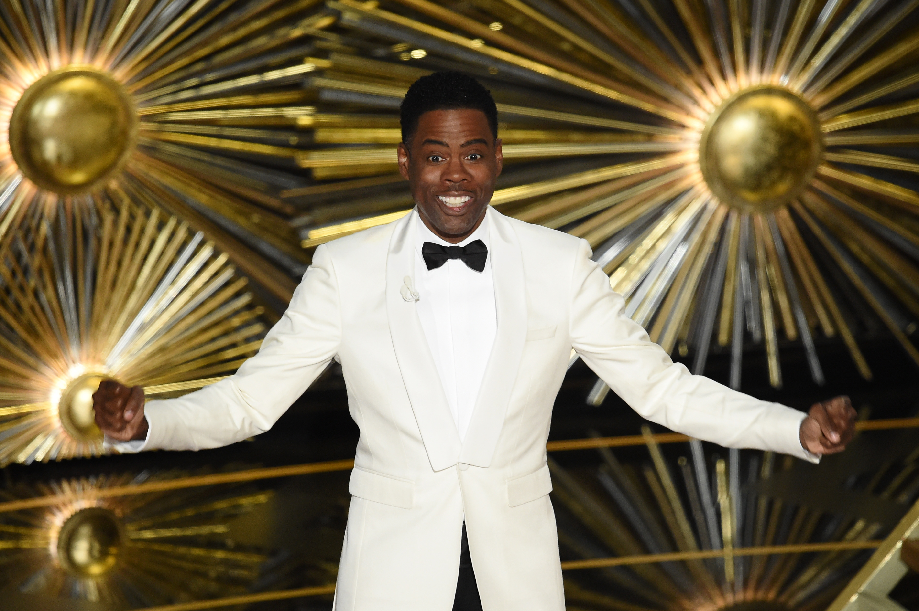 Host Chris Rock speaks onstage during the 88th Annual Academy Awards at the Dolby Theatre in California.