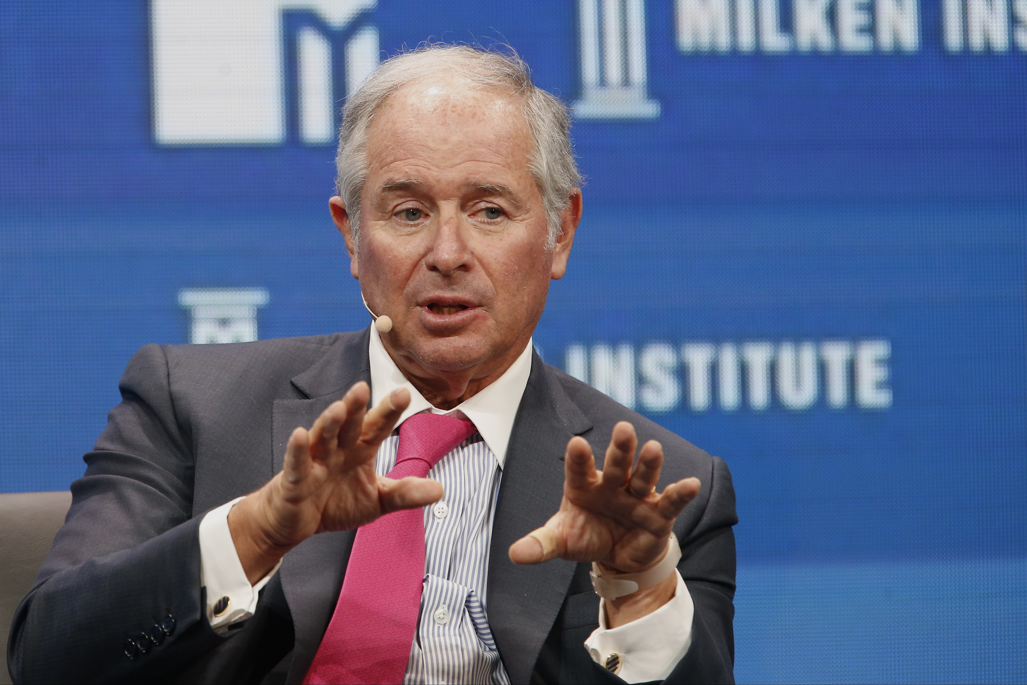 "Stephen ""Steve"" Schwarzman, Blackstone Group LP chairman and CEO, speaks during the annual Milken Institute Global Conference in California."