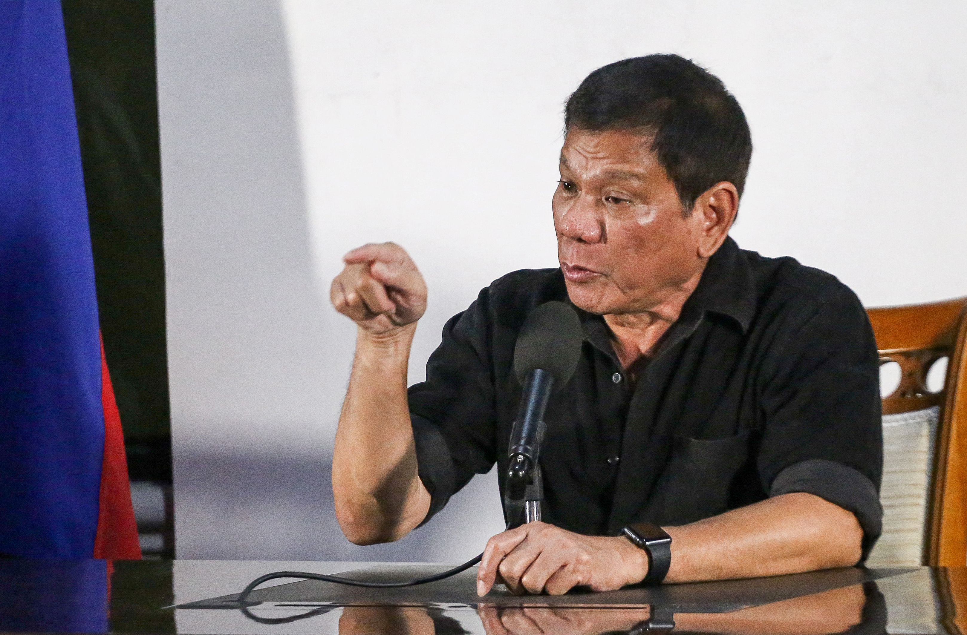 Philippines' president-elect Rodrigo Duterte gives a press conference in Davao City.