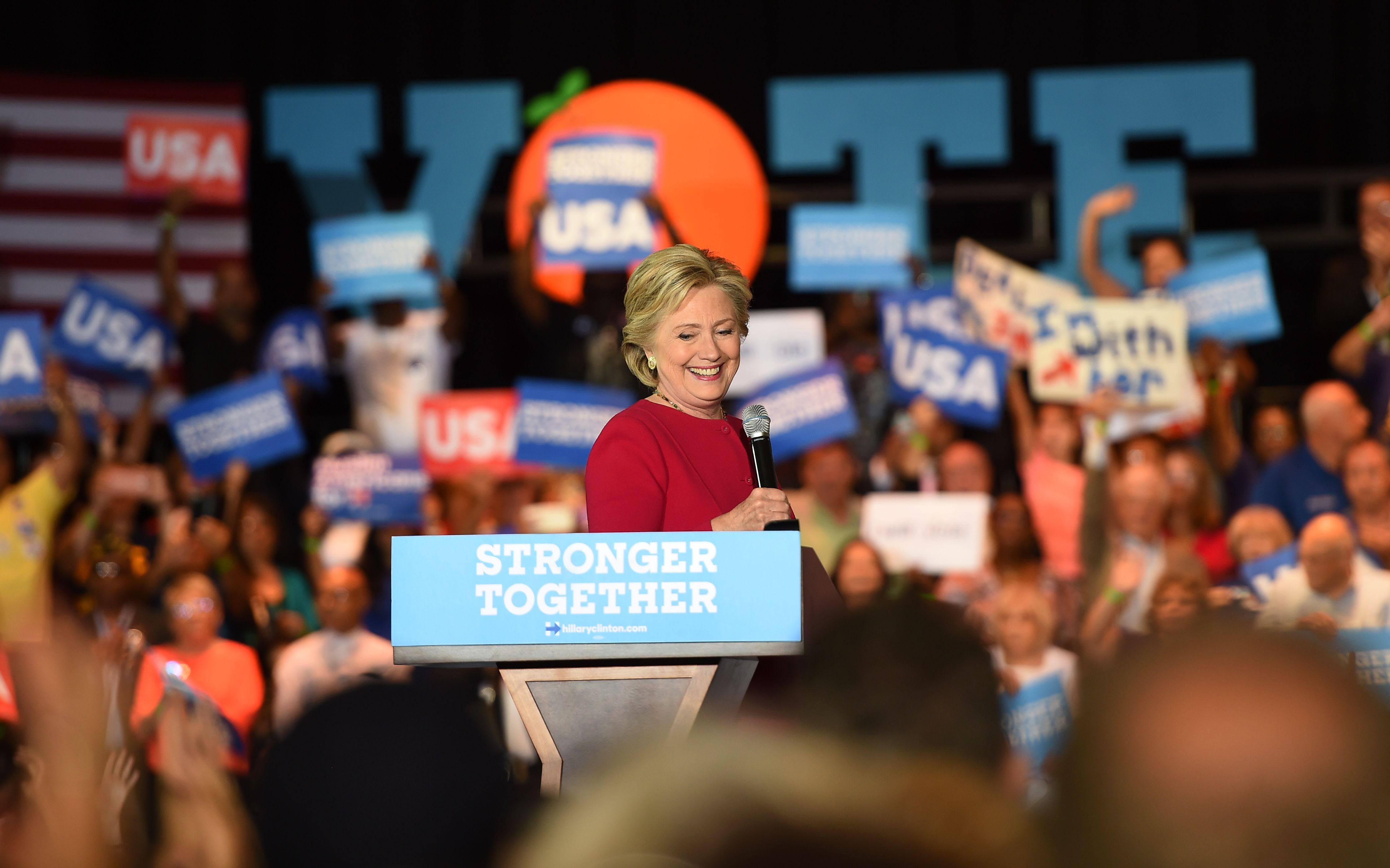 Democratic presidential nominee Hillary Clinton addresses an early vote rally at Broward College in Coconut Creek, Florida.
