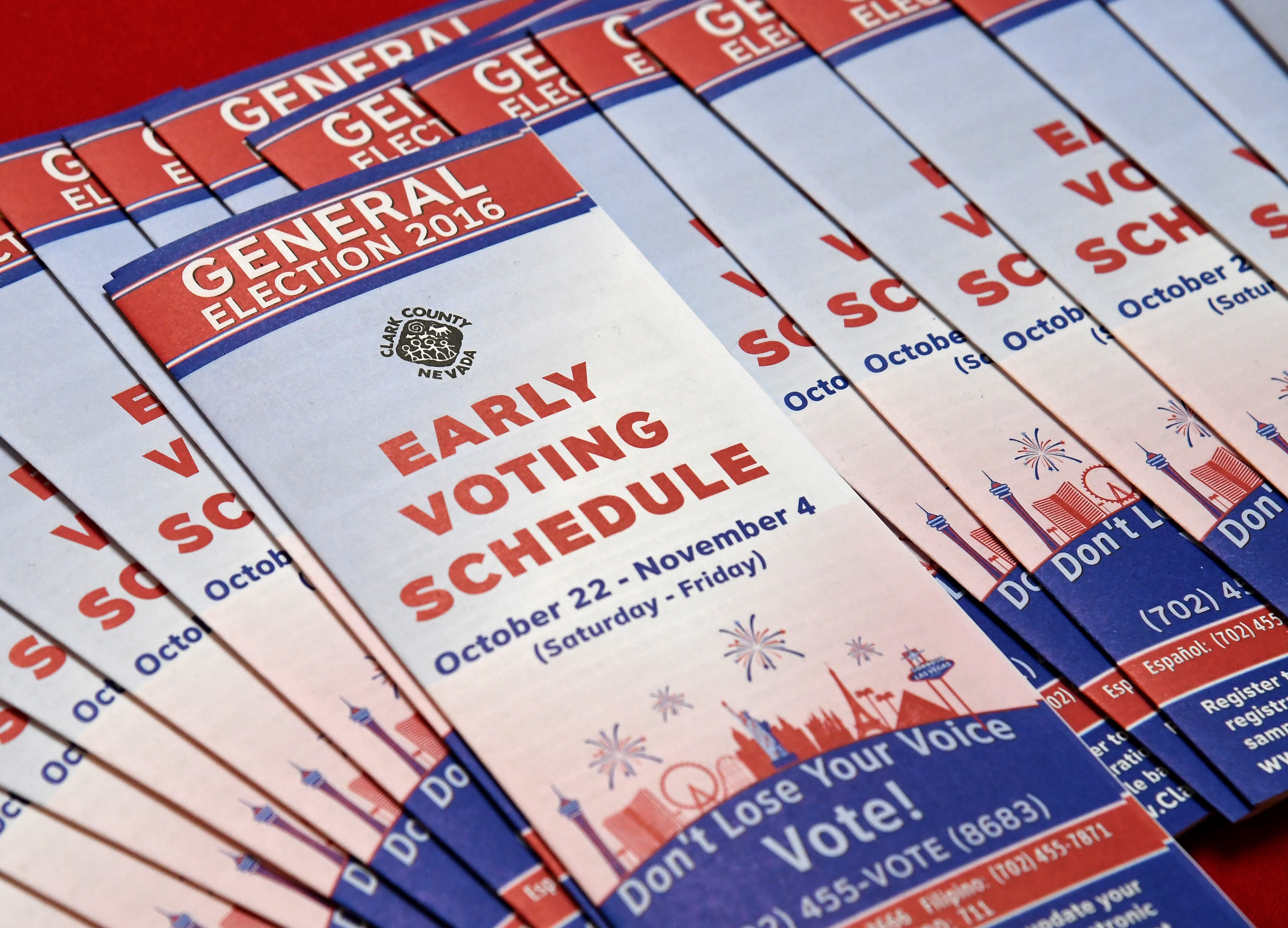 Early voting schedules are displayed at the Meadows Mall on October 26, 2016 in Las Vegas.
