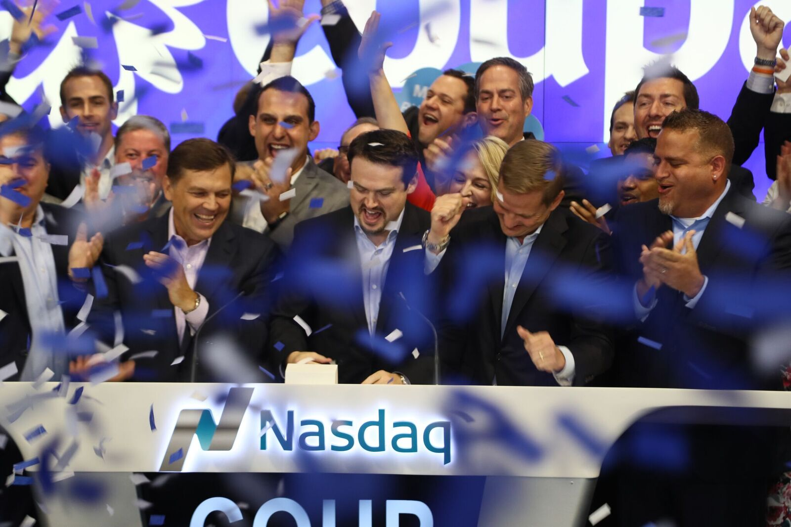 Coupa CEO Rob Bernshteyn rings the Nasdaq opening bell to celebrate his cloud software firm's October 6, 2016, trading debut.