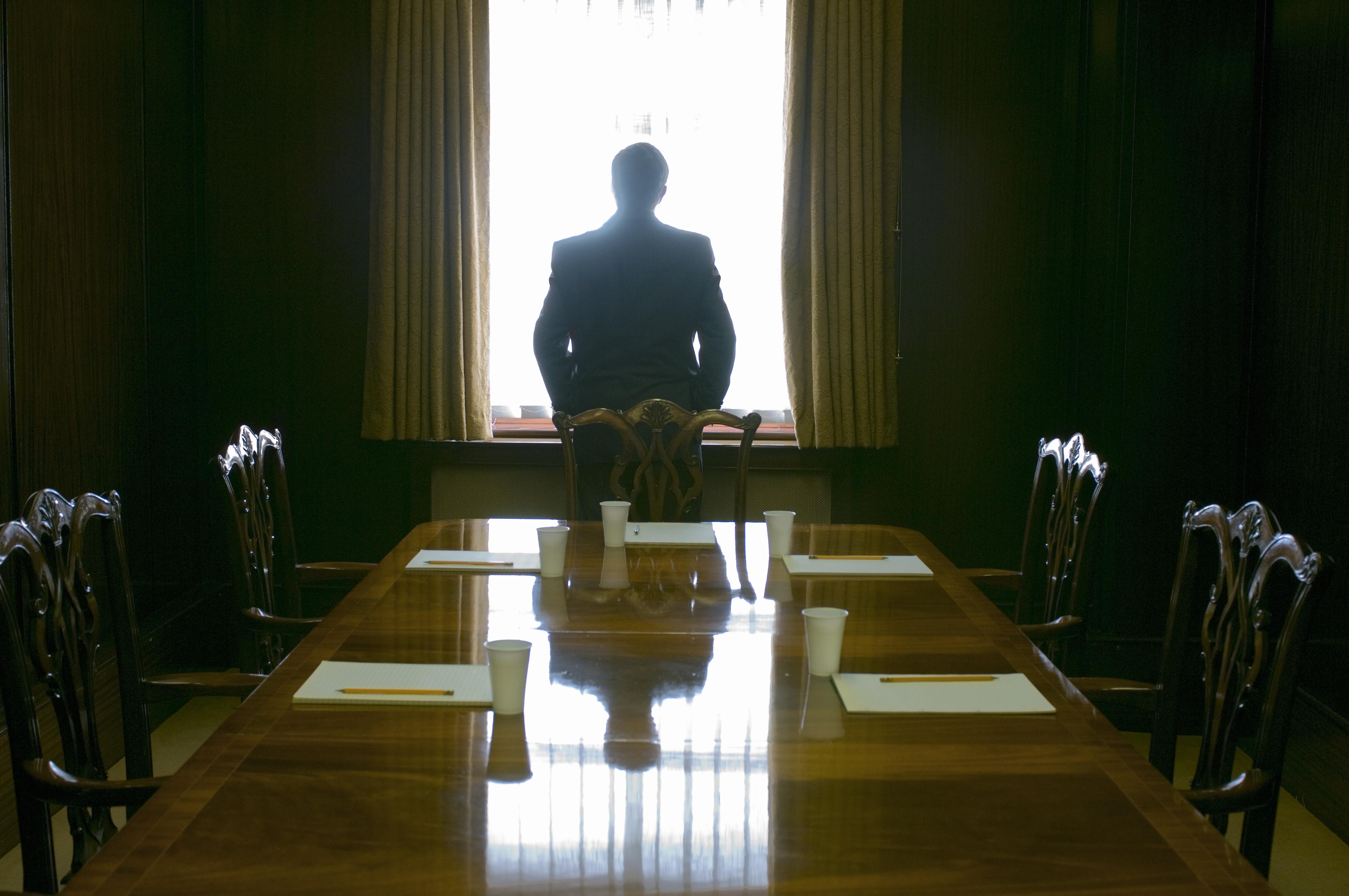 Businessman facing window in meeting room, rear view