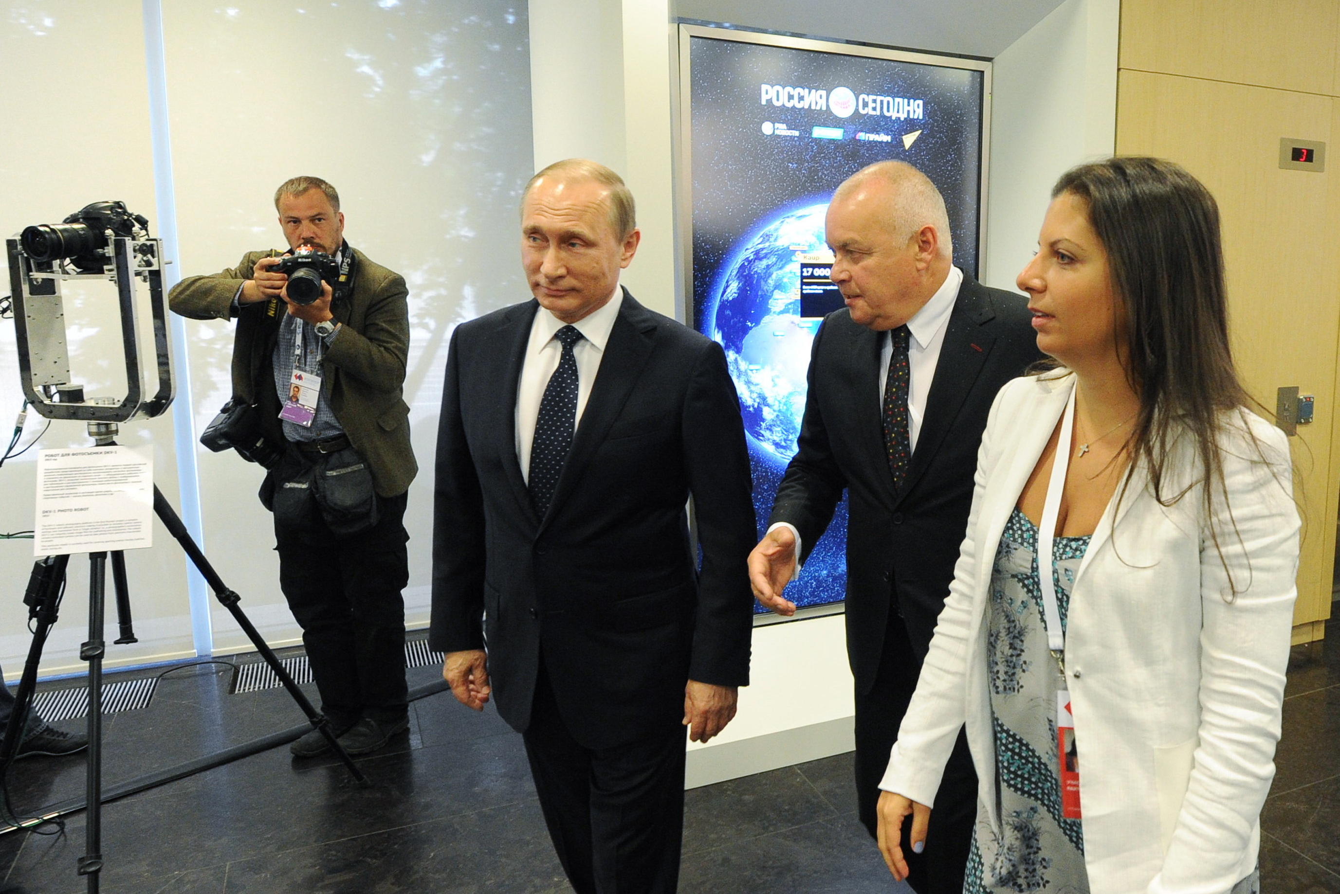 Russian President Vladimir Putin visits Rossiya Segodnya international news agency