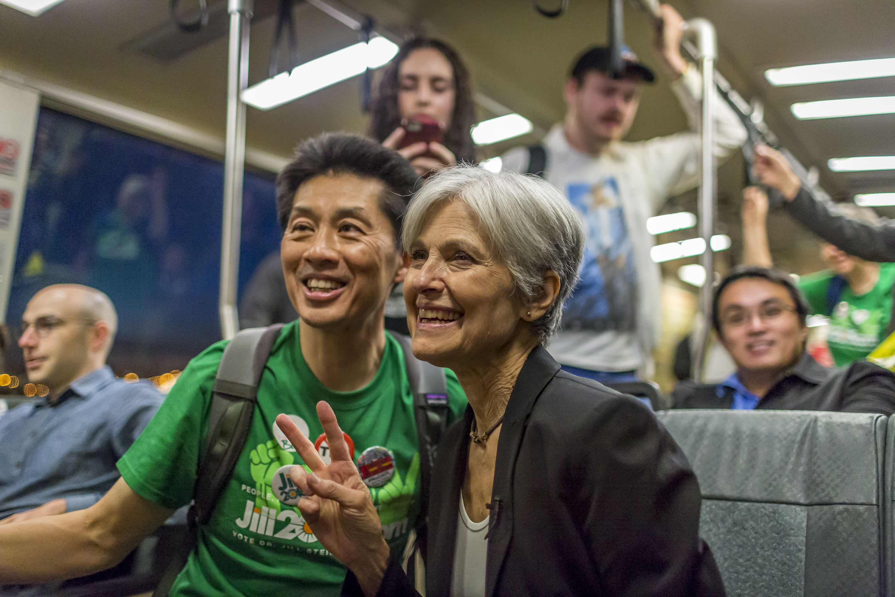 Green party presidential candidate Jill Stein rides the Bart