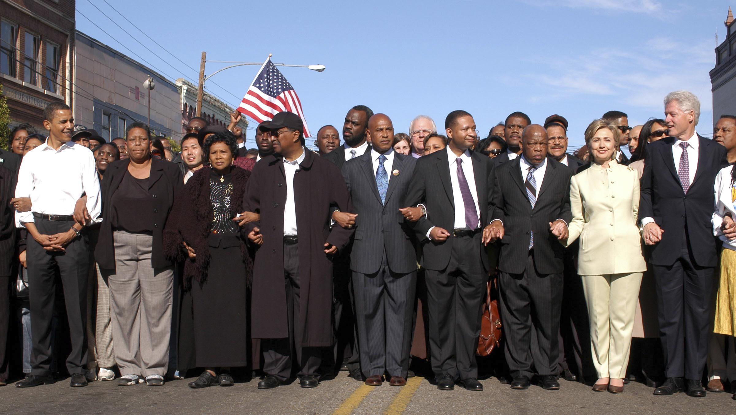 Illinois Senator Barack Obama, far left, former President Bi