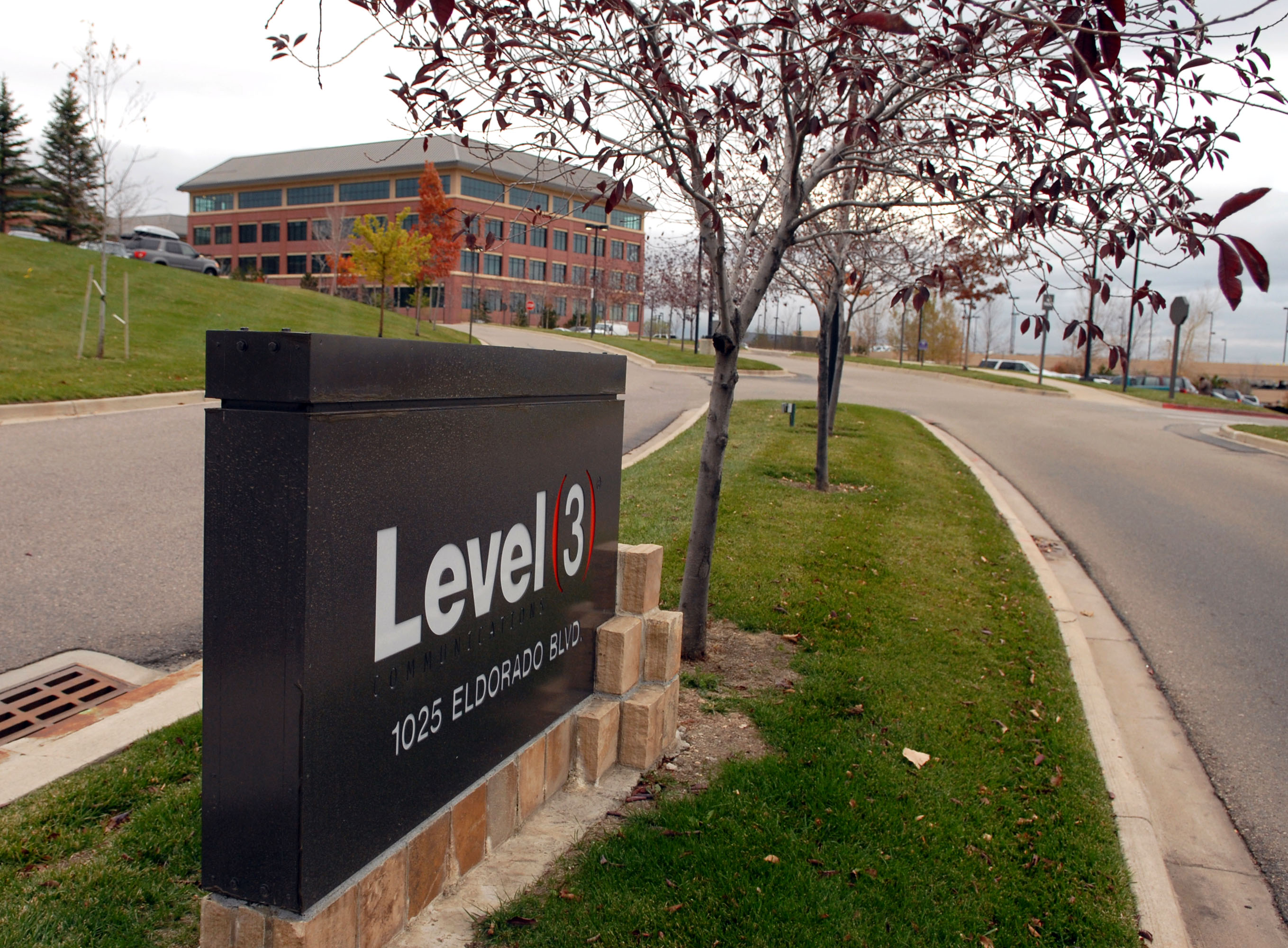 A sign marks the entrance to Level 3 Communications Inc. cam