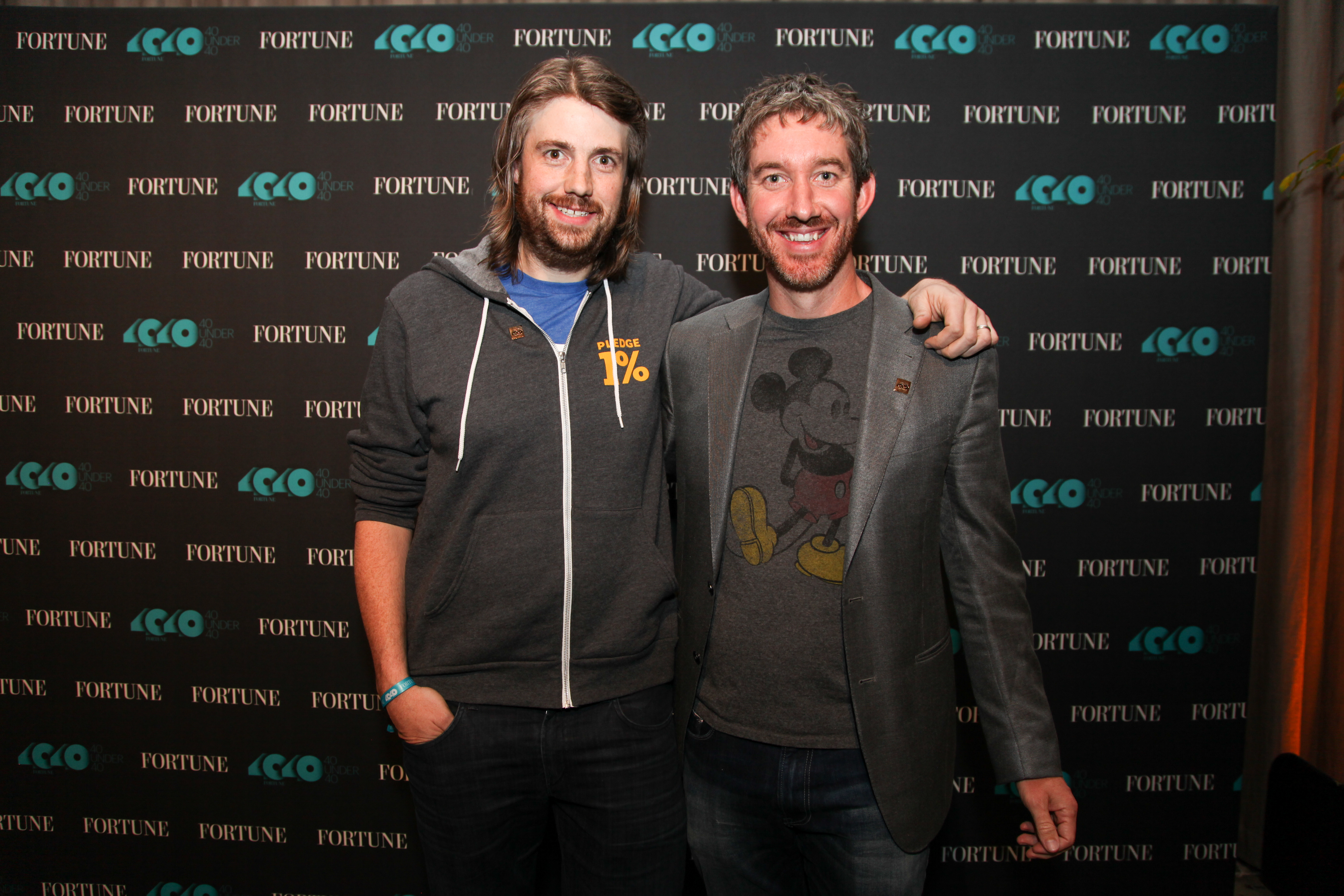 Mike Cannon-Brookes, left, and Scott Farquhar, co-founders and co-CEOs of Atlassian and 2016 honorees on Fortune's 40 Under 40 list, pose for a photo.