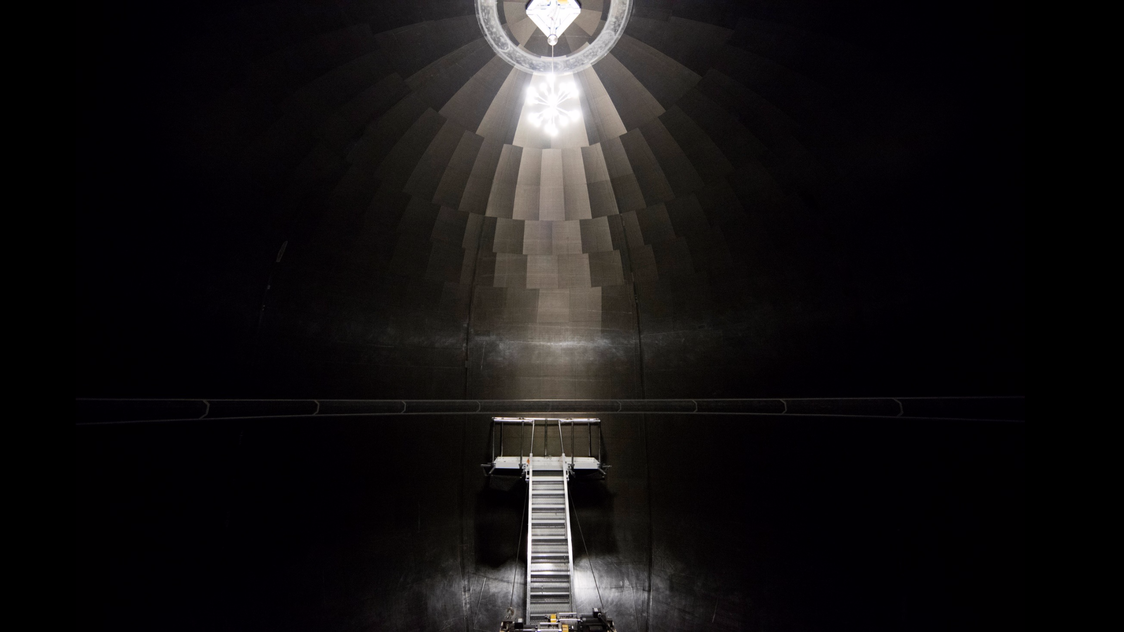 An internal view of a prototype carbon-fiber fuel tank in development for SpaceX's Mars-bound Interplanetary Transportation System.