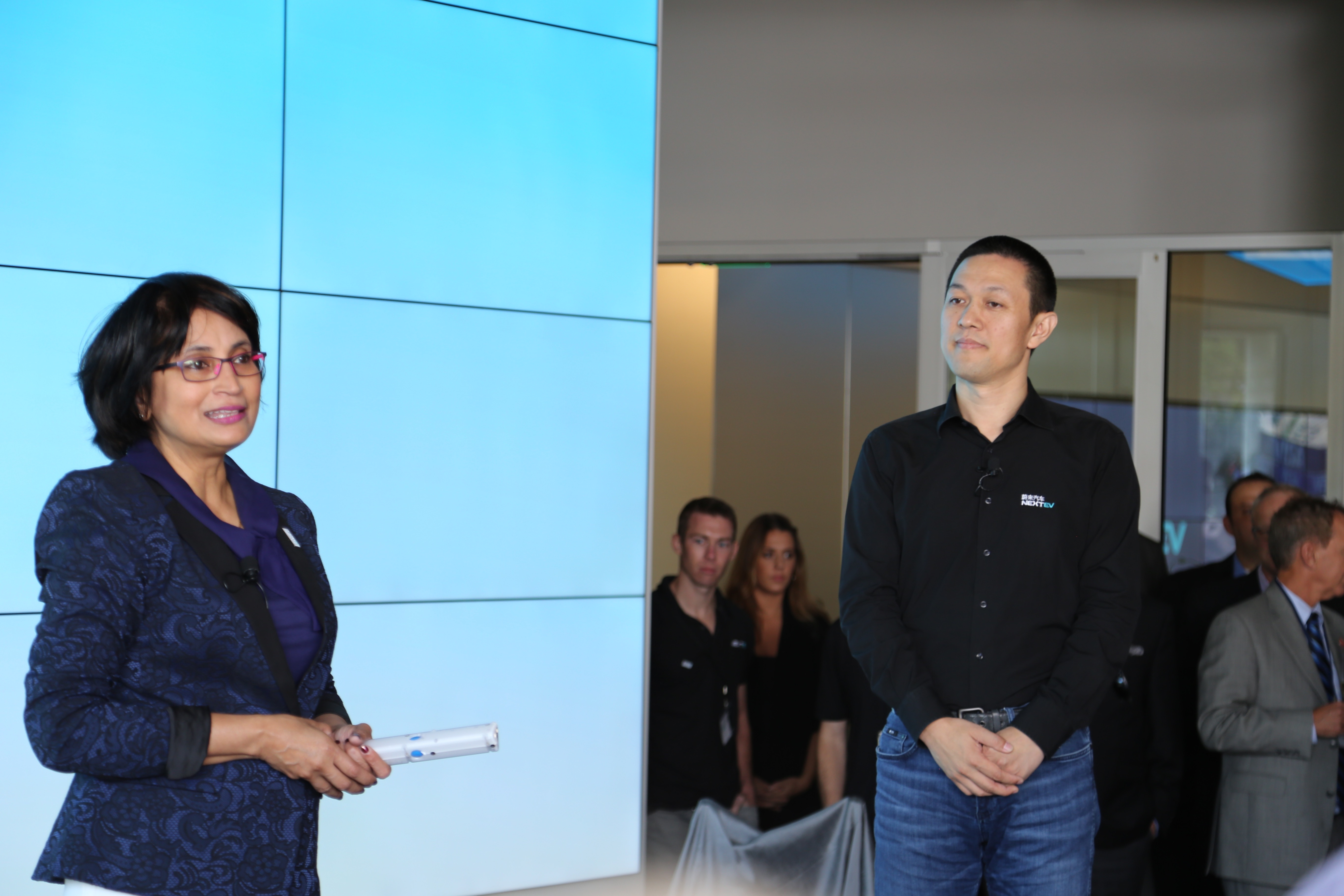 NextEV's US CEO Padmasree Warrior and Founder William Li at the company's kick-off event in San Jose, Calif.