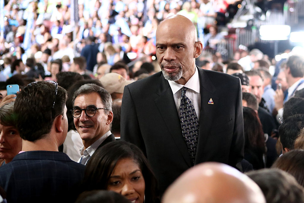 Retired professional basketball player Kareem Abdul-Jabbar attends the fourth day of the Democratic National Convention at the Wells Fargo Center, July 28, 2016 in Philadelphia, Pennsylvania.