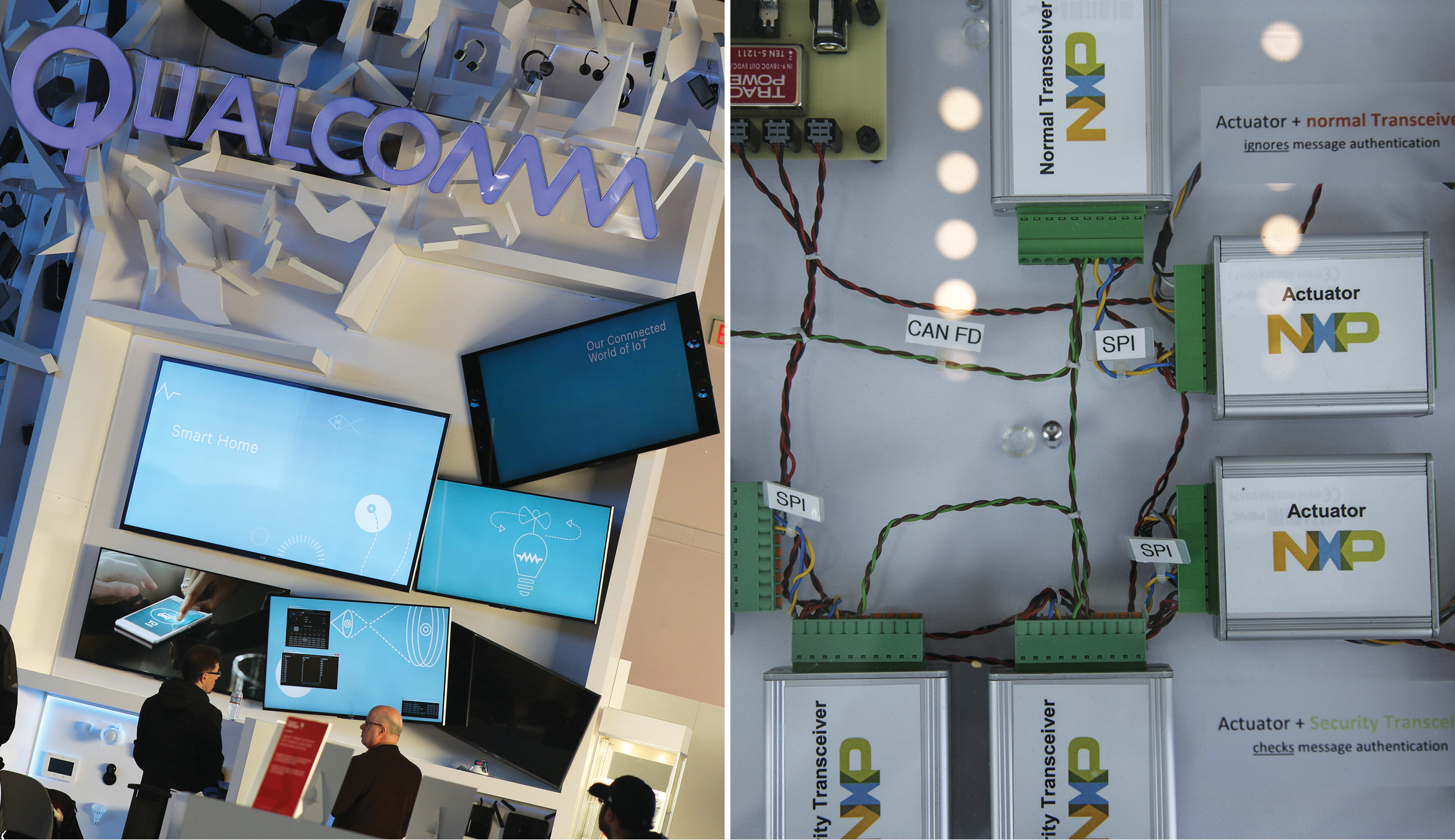 Qualcomm display at CES 2016, left, and a NXP Semiconductors NV security demonstration at Billington Global Automotive Cybersecurity Summit in 2016.