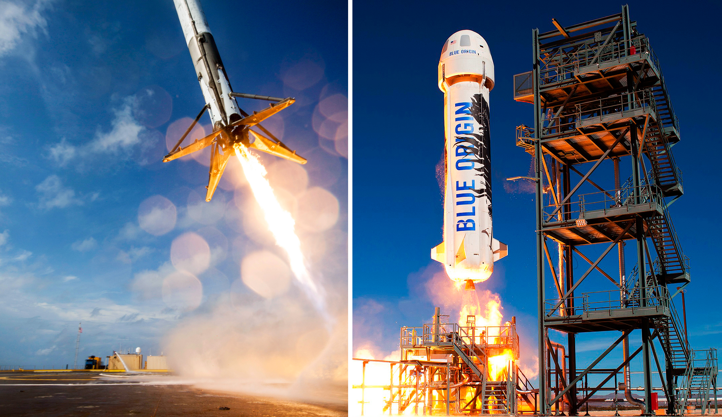 A SpaceX reusable rocket-stage approaches landing on an ocean platform (left); a Blue Origin reusable rocket booster.