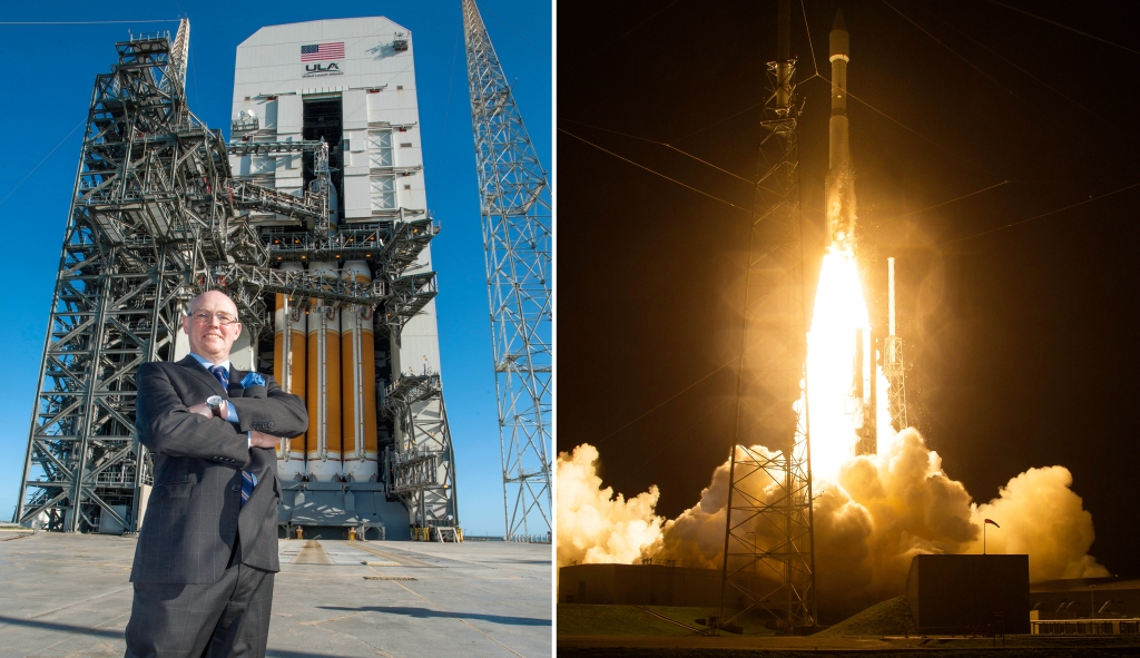 ULA CEO Tory Bruno (left) in front of one of the company's Delta IV rockets; An Atlas V (right) launches with a NASA space probe.