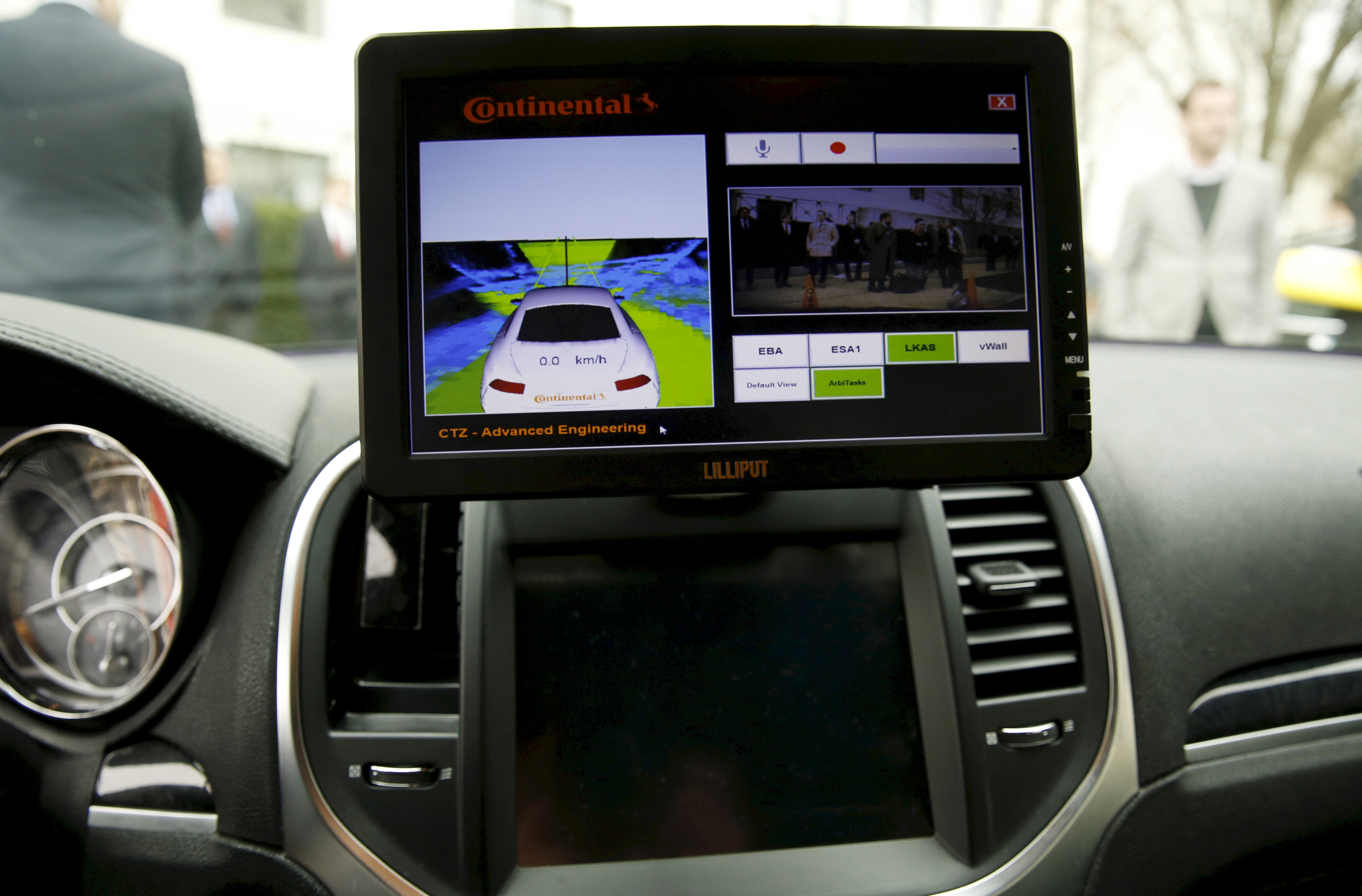 File picture shows computer screen in prototype Continental Chrysler 300C sedan on Capitol Hill in Washington