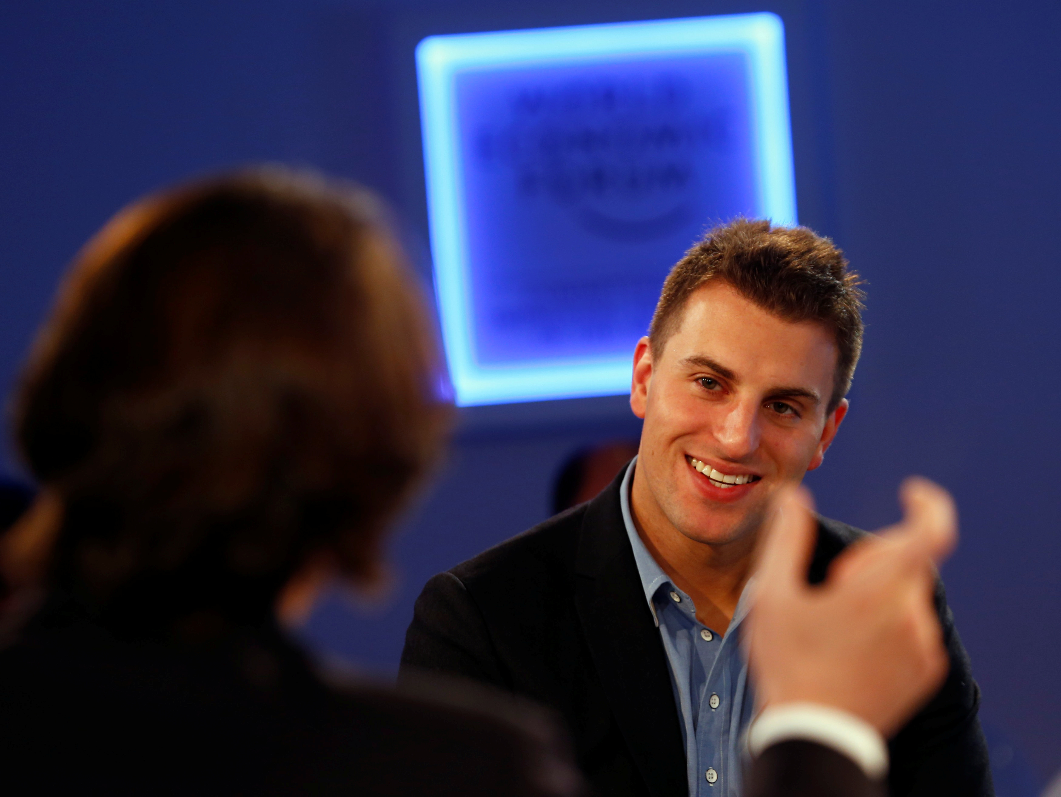 Chesky CEO of Airbnb attends session of World Economic Forum in Davos