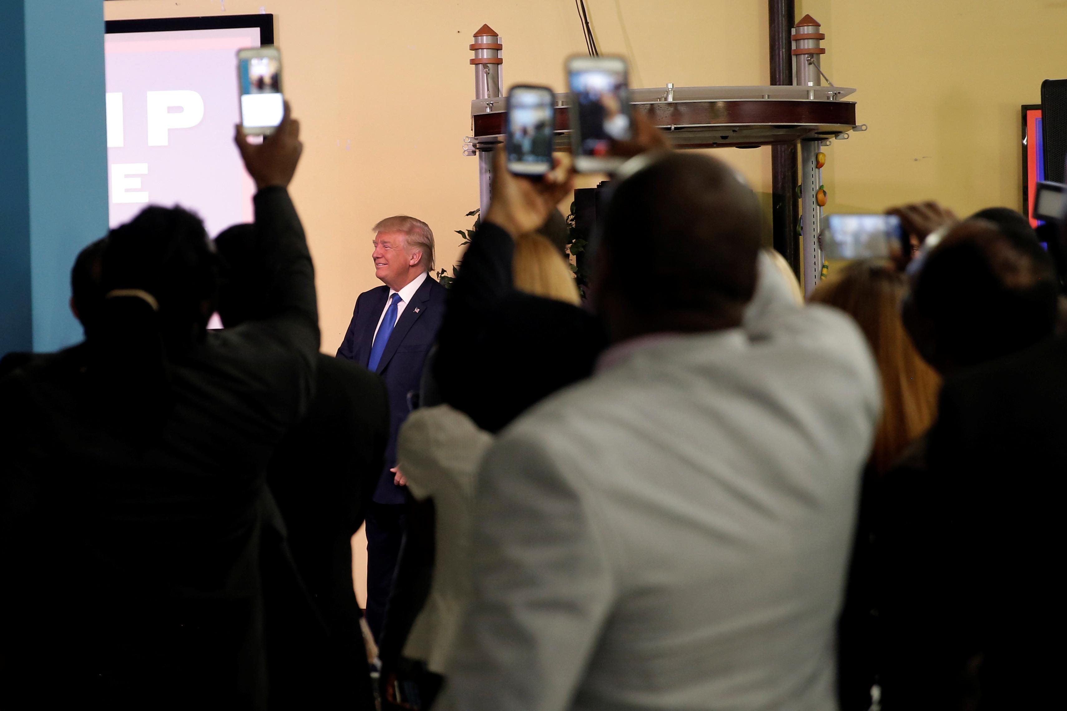 Republican presidential nominee Donald Trump makes a campaign visit to the Little Haiti Cultural Center in Miami