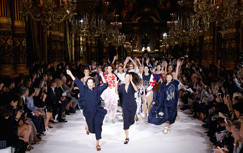 Models present creations by British designer Stella McCartney as part of her Spring/Summer 2017 women's ready-to-wear collection during Fashion Week in Paris