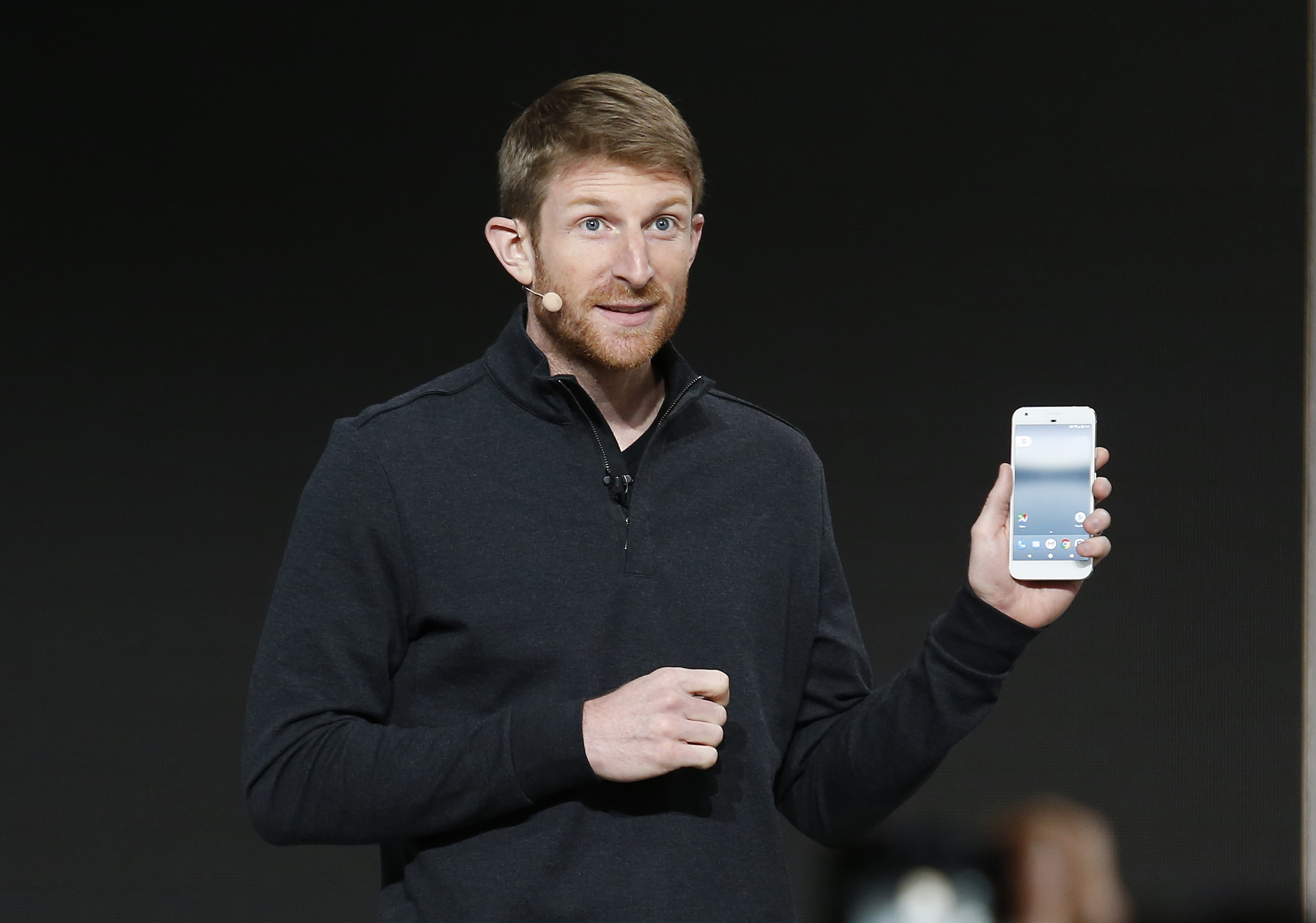 Brian Rakowski speaks about the Pixel phone, during the presentation of new Google hardware in San Francisco