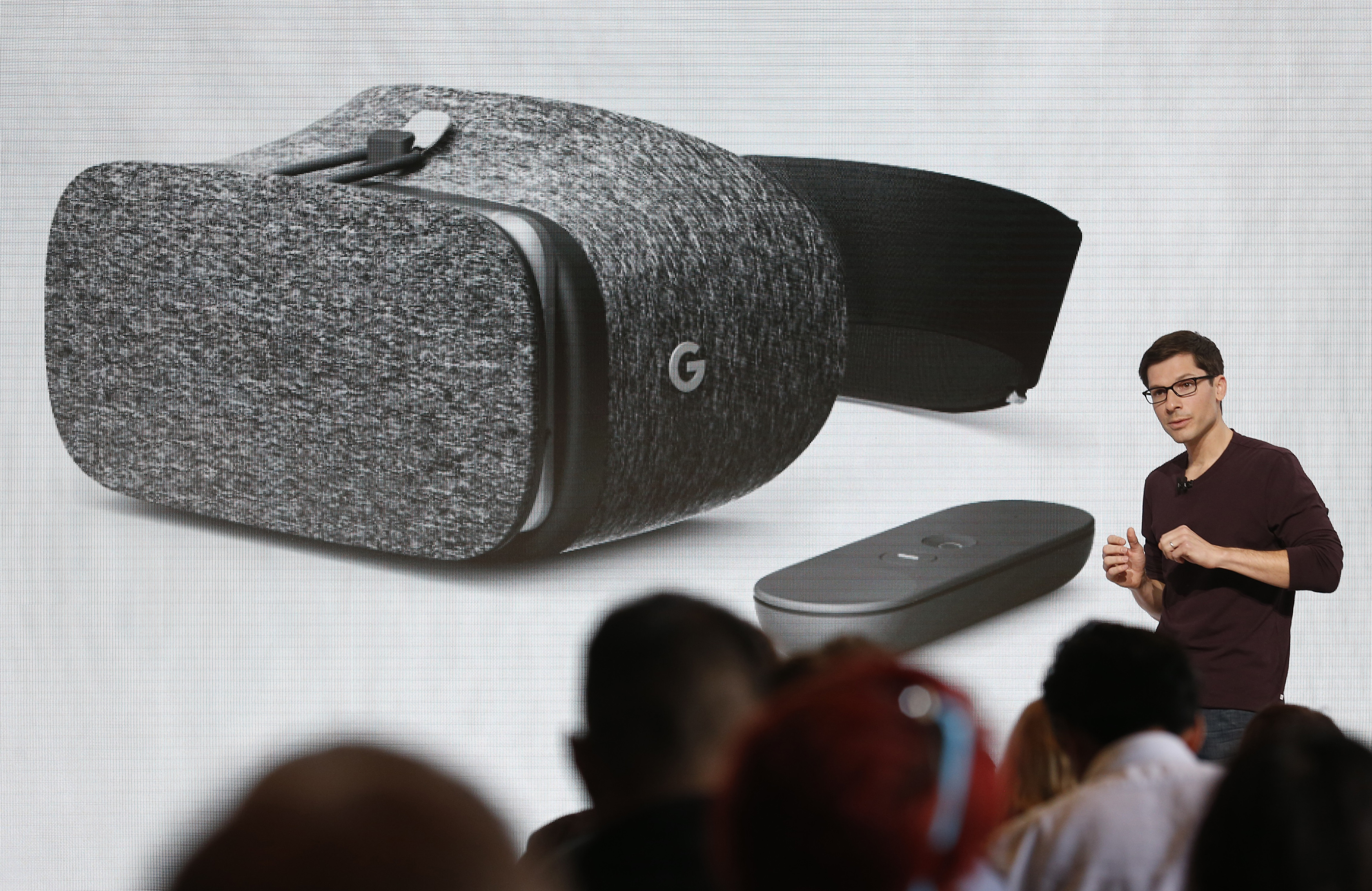Clay Bavor introduces the Daydream View VR headset during the presentation of new Google hardware in San Francisco
