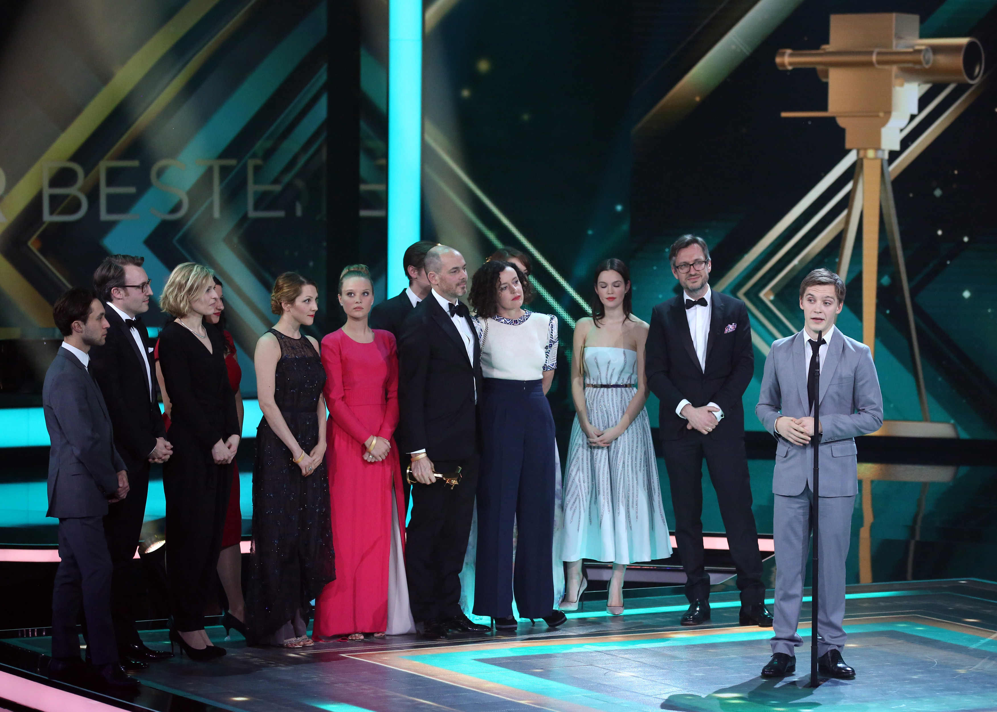 The cast of 'Deutschland 83' accepts the award for Best German Mini-series during Golden Camera awards ceremony in Hamburg