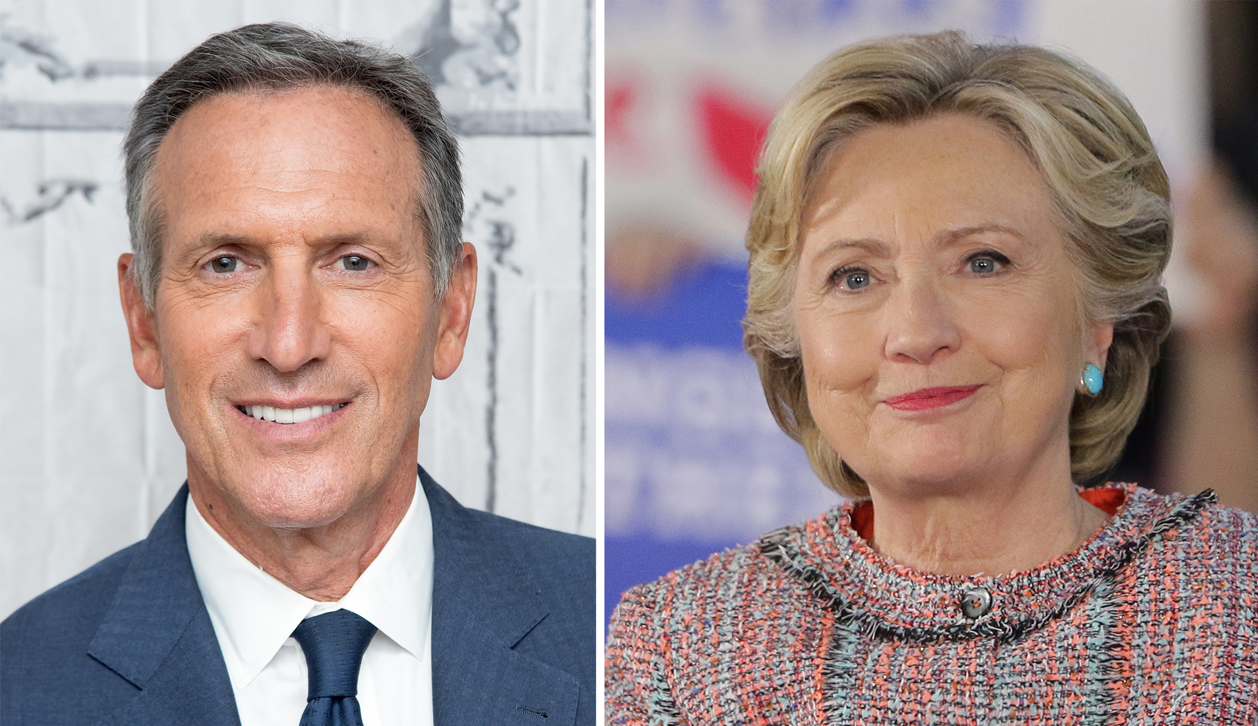 Starbucks CEO Howard Schultz and Democratic presidential nominee Hillary Clinton