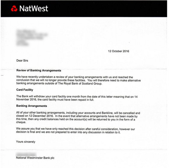 A notice from NatWest bank posted to RT's website.
