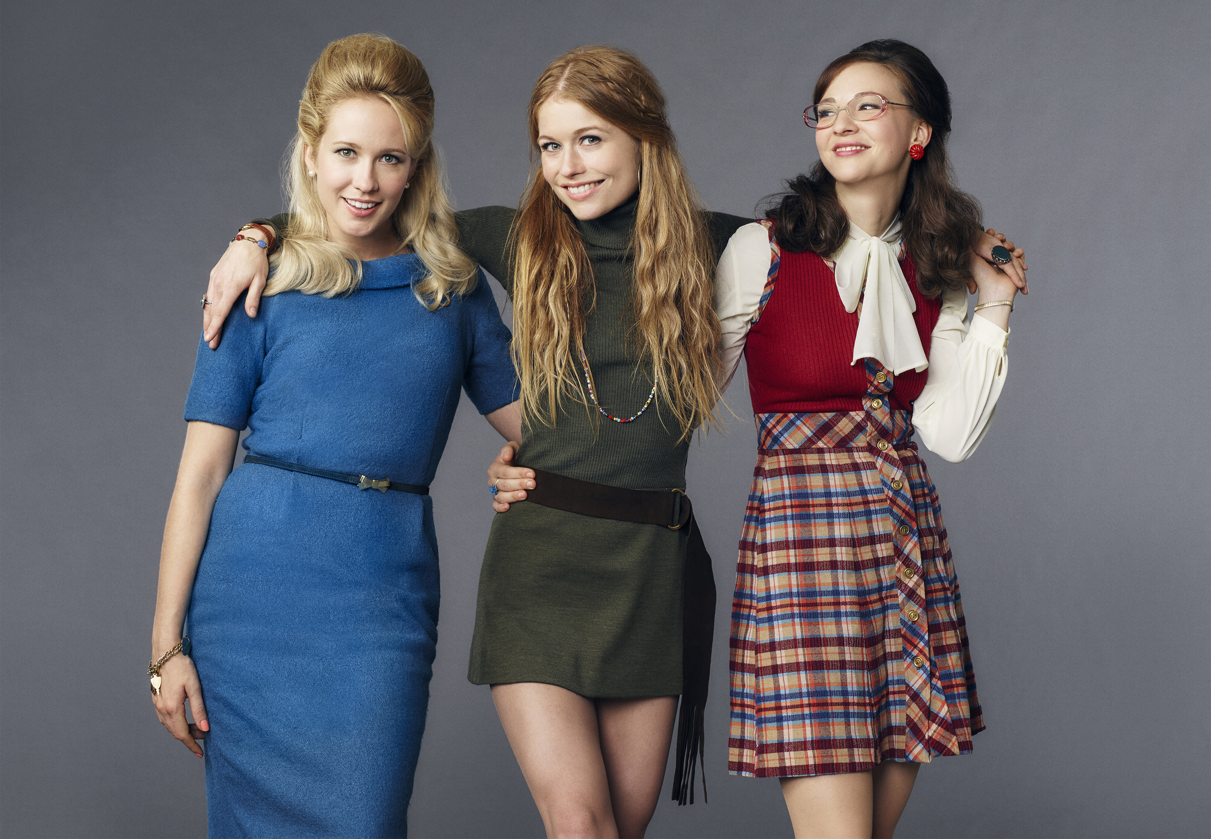 Amazon's Good Girls Revolt, from left: Anna Camp, Genevieve Angelson and Erin Darke