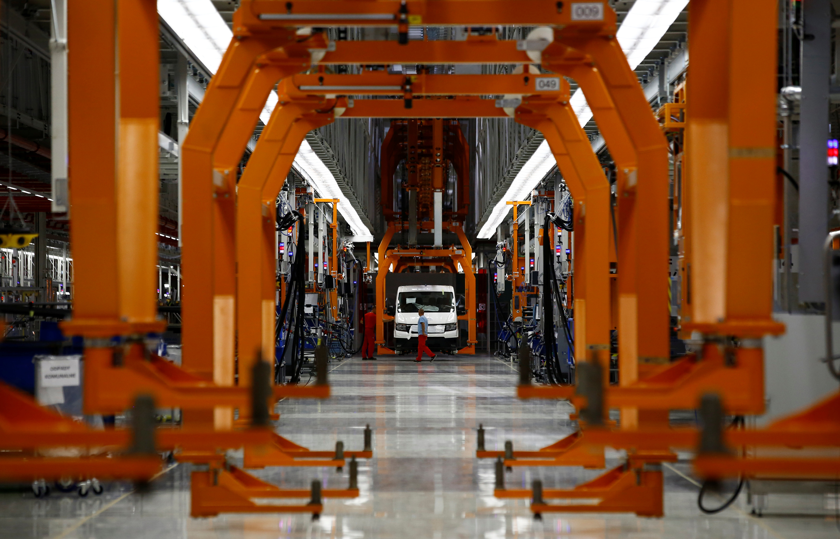 A new Volkswagen Crafter production line is seen at the newly opened Volkswagen factory in Wrzesnia near Poznan