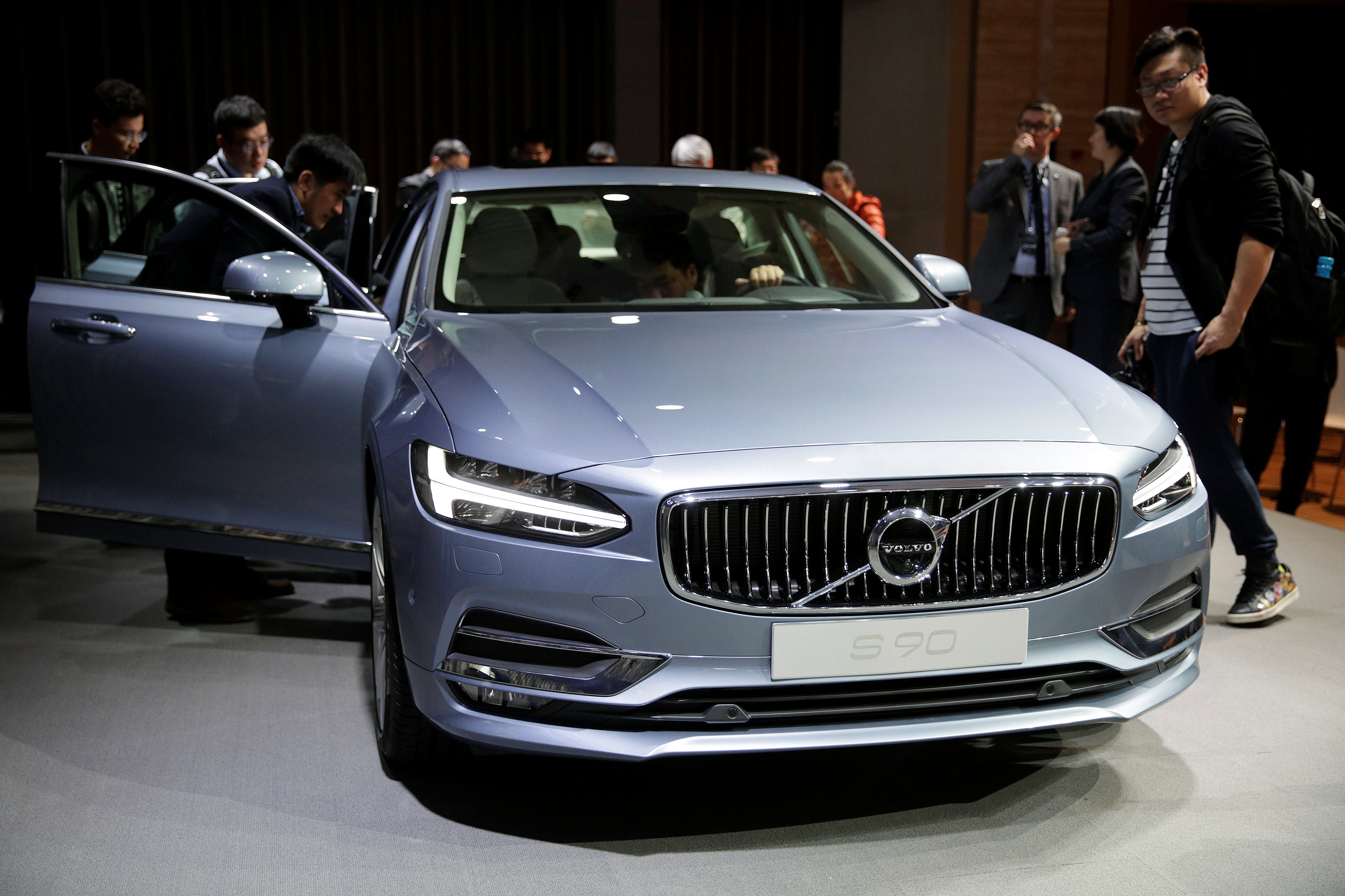 Volvo's S90 cars are seen during the company's news conference in Shanghai