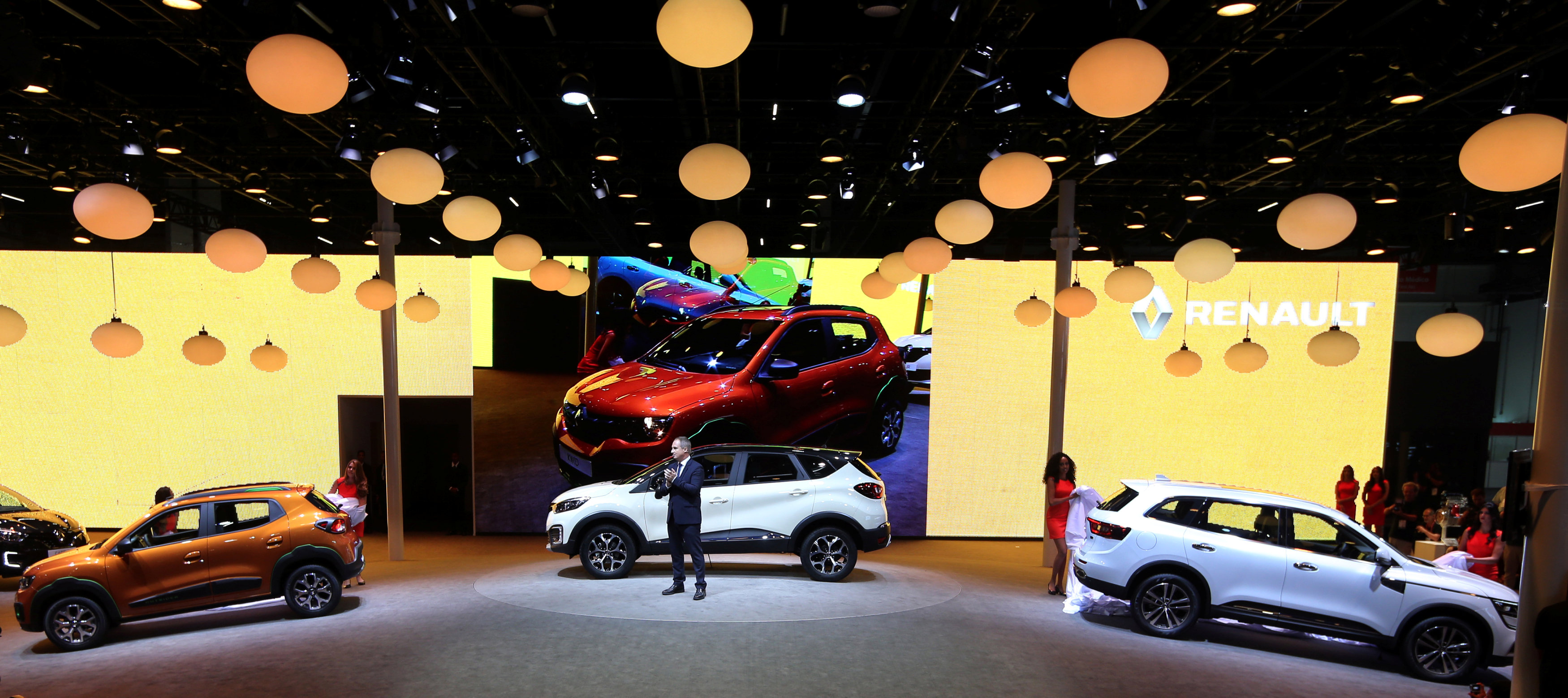 Fabrice Cambolive head of the local subsidiary of the French automaker Renault, presents the Captur, Kwid and Koleos models during the Sao Paulo International Motor Show in Sao Paulo