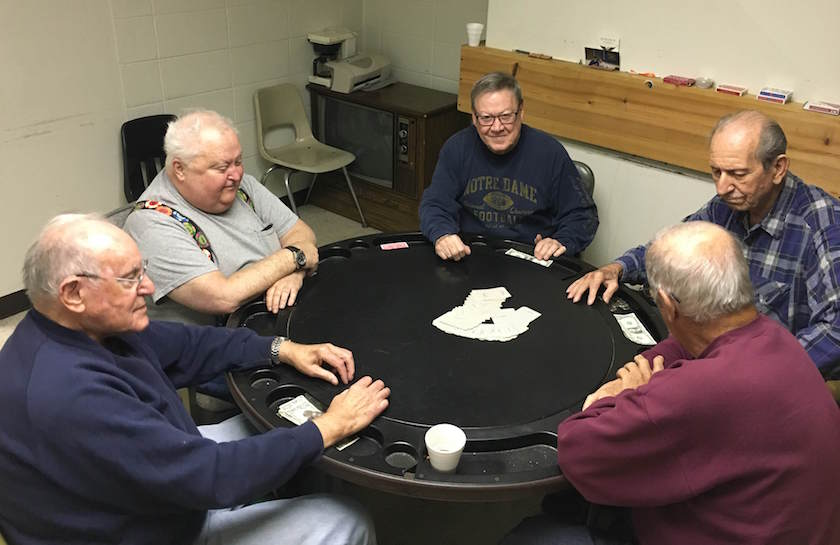 Retired steel workers Pron, McAndrew, Kelly,Gonda and Rayden play poker in a union hall in Bethlehem
