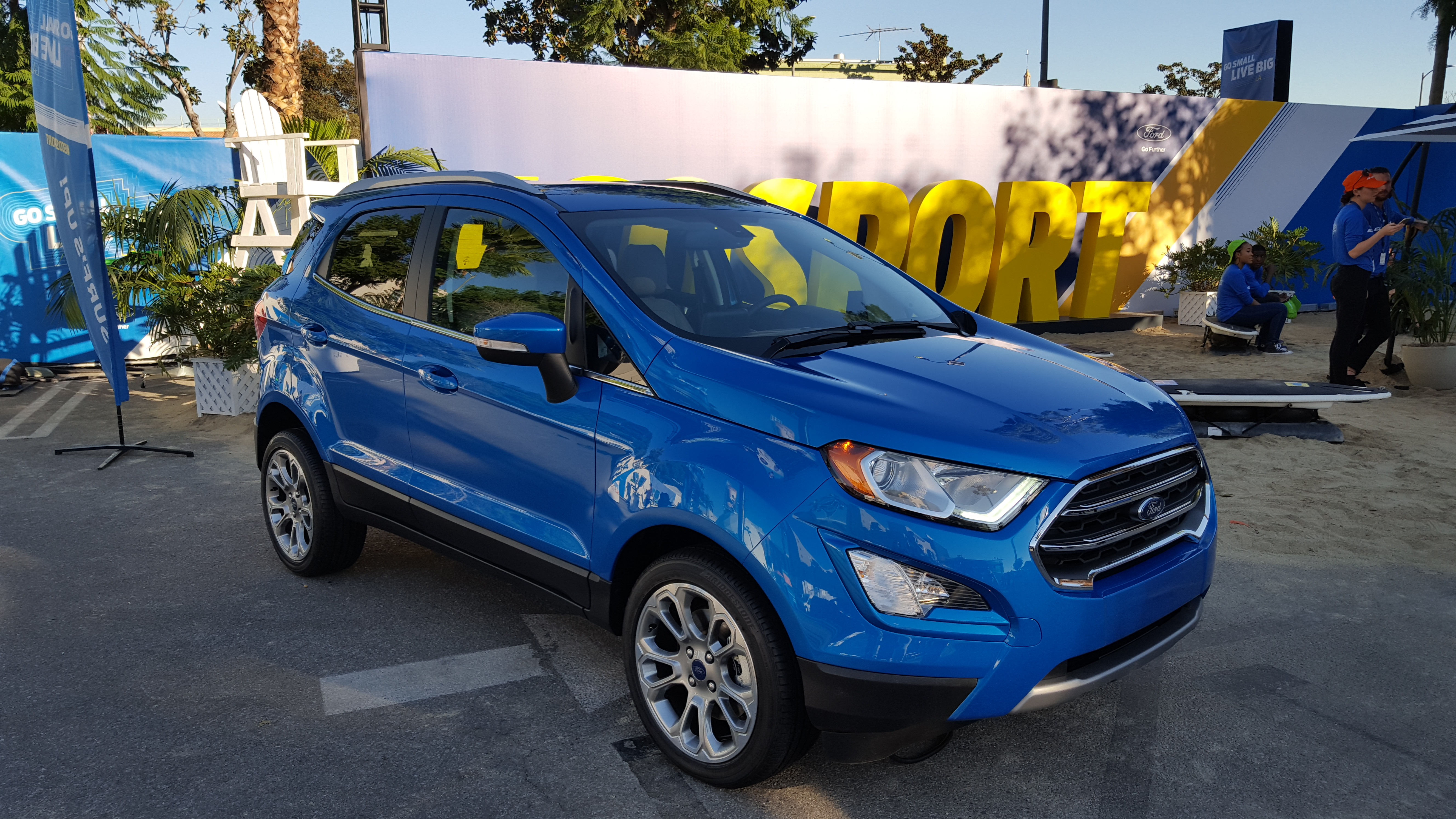 """The Ford EcoSport in the """"Titanium"""" trim at the Go Small, Live Big pop-up event in Hollywood."""