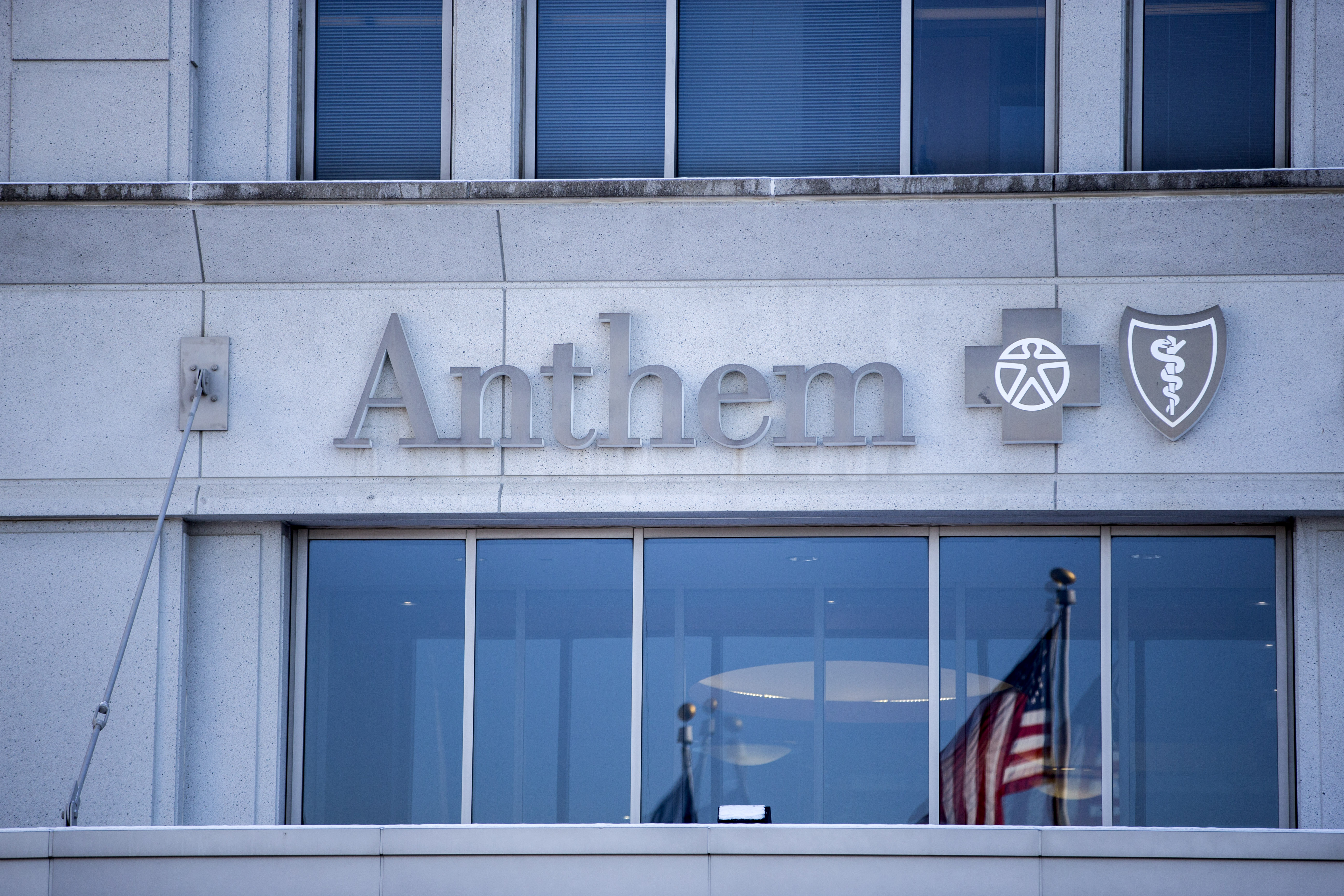 An exterior view of an Anthem Health Insurance facility in Indianapolis, Indiana.