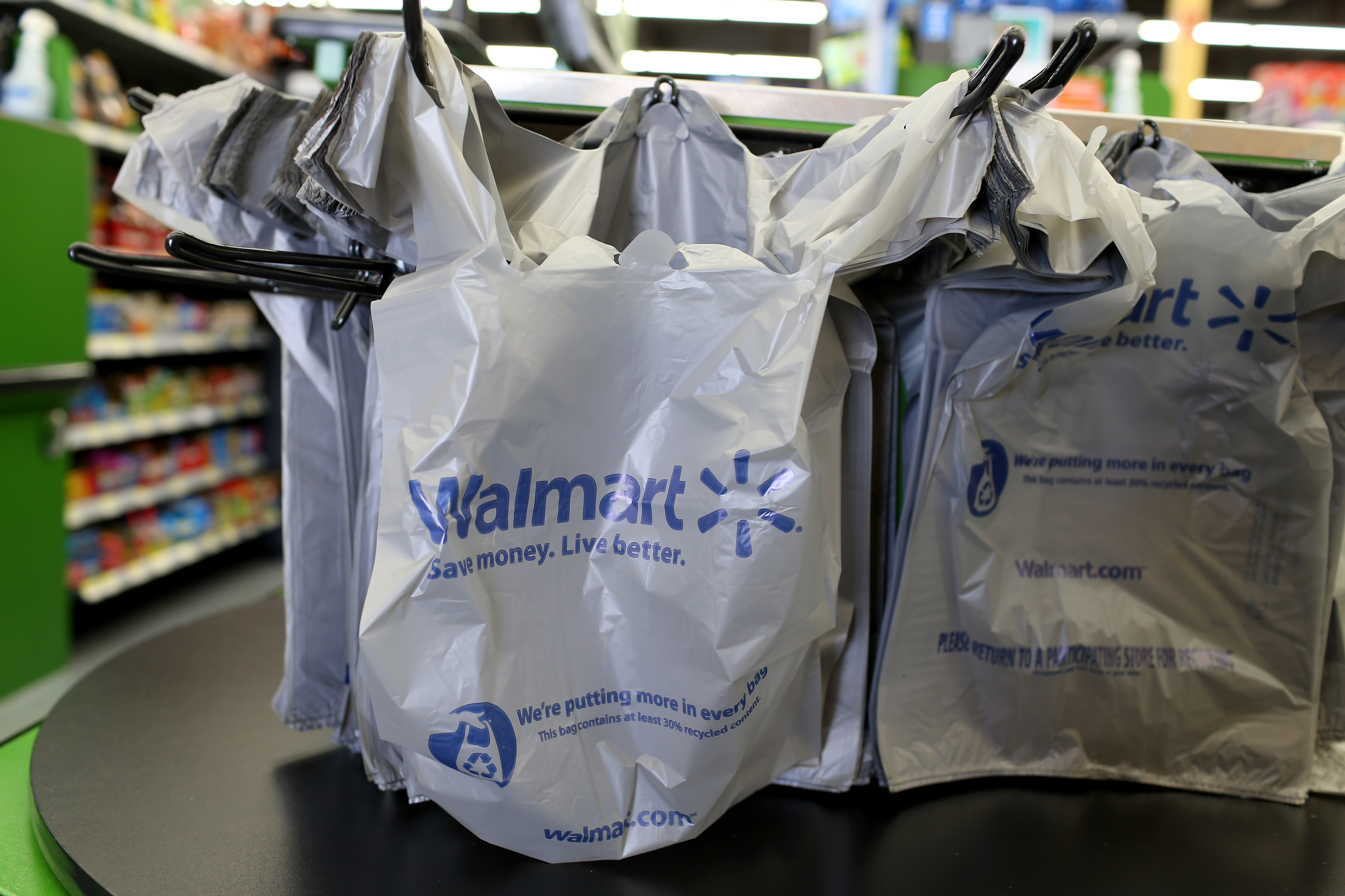 Walmart bags are seen in the store in Miami.