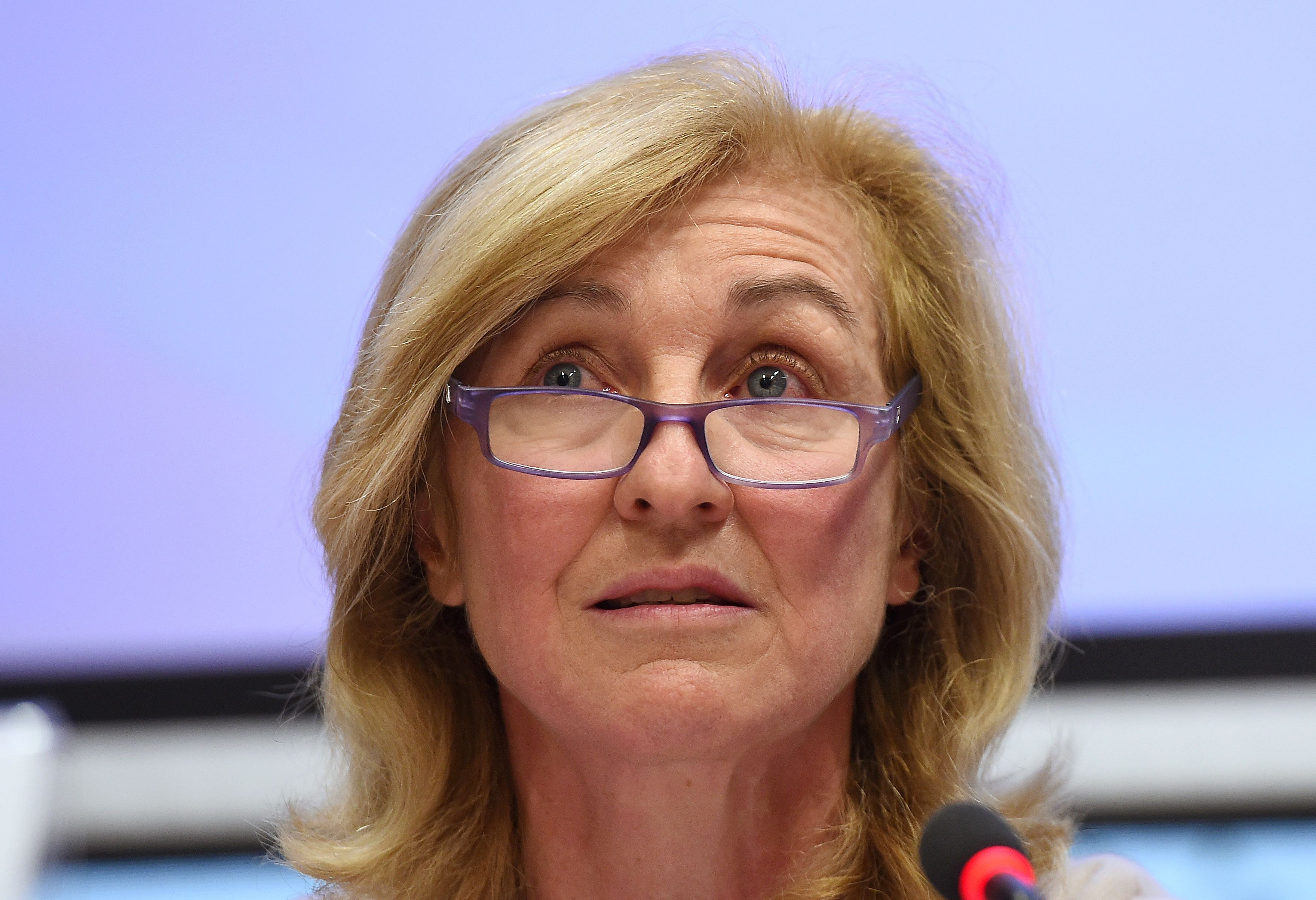 Isabelle Falque-Pierrotin speaks during a press conference on the evolutions of the EU-US privacy shield agreement on February 3, 2016 in Brussels.