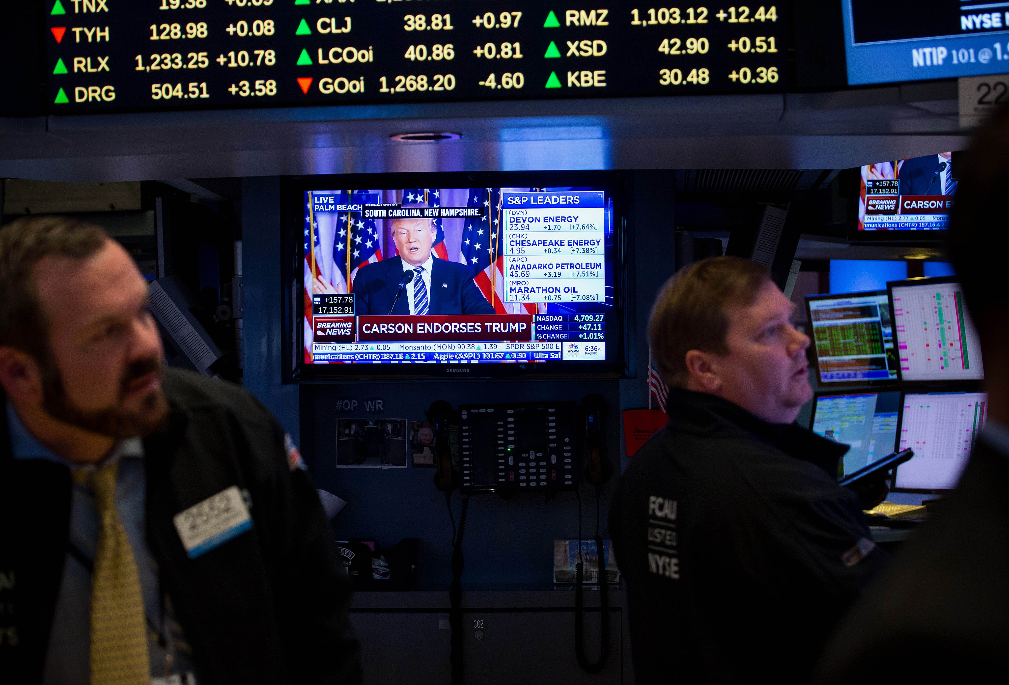 Trading On The Floor Of The NYSE As U.S. Stocks Join Global Rally While Investors Embrace ECB Measures