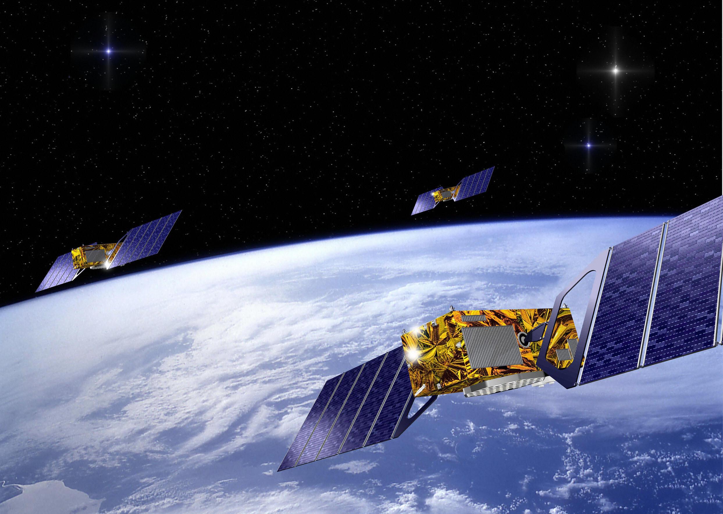 Three satellites part of the European Galileo navigation system network.