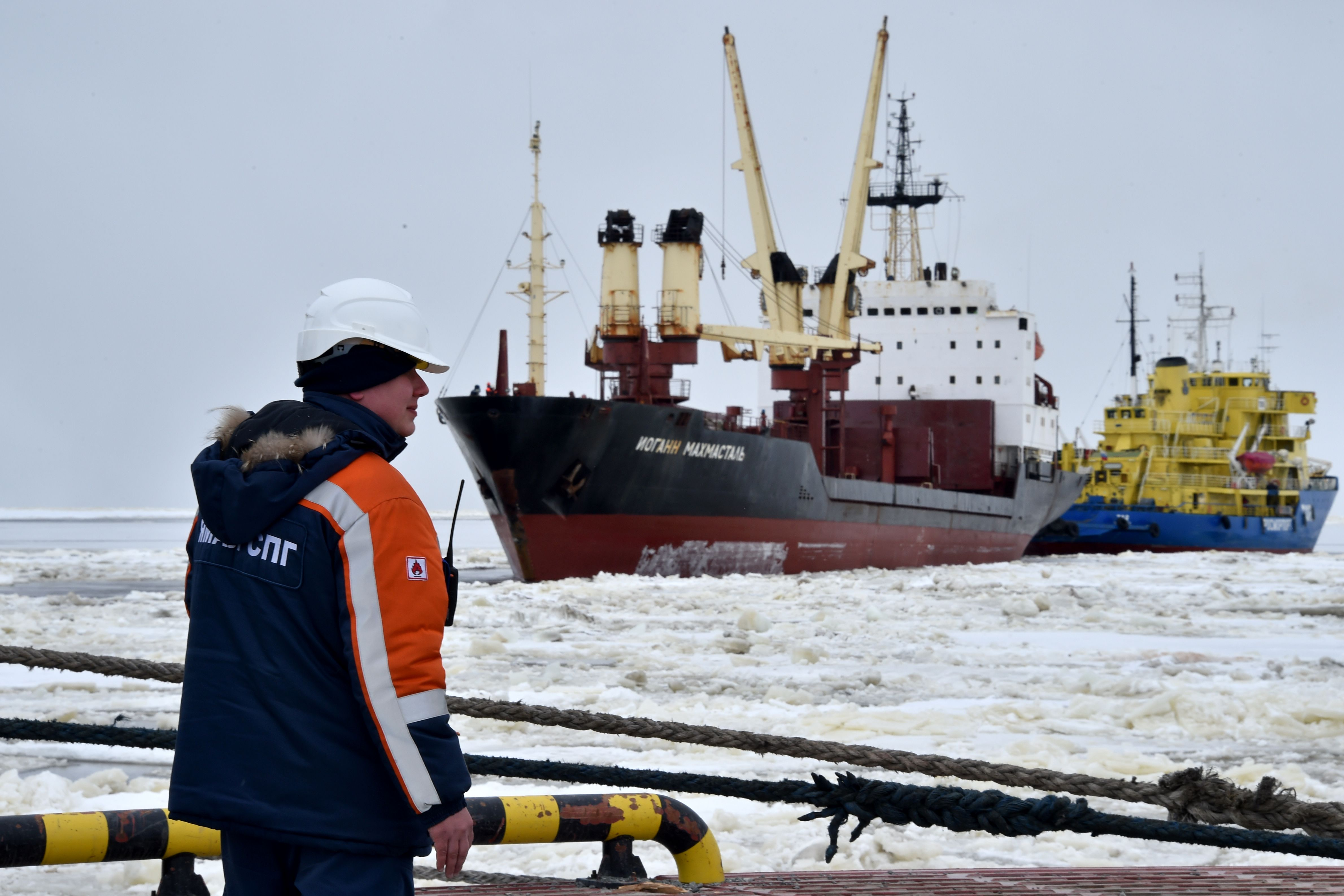 A cargo ship at the port of Sabetta in the Arctic circle.