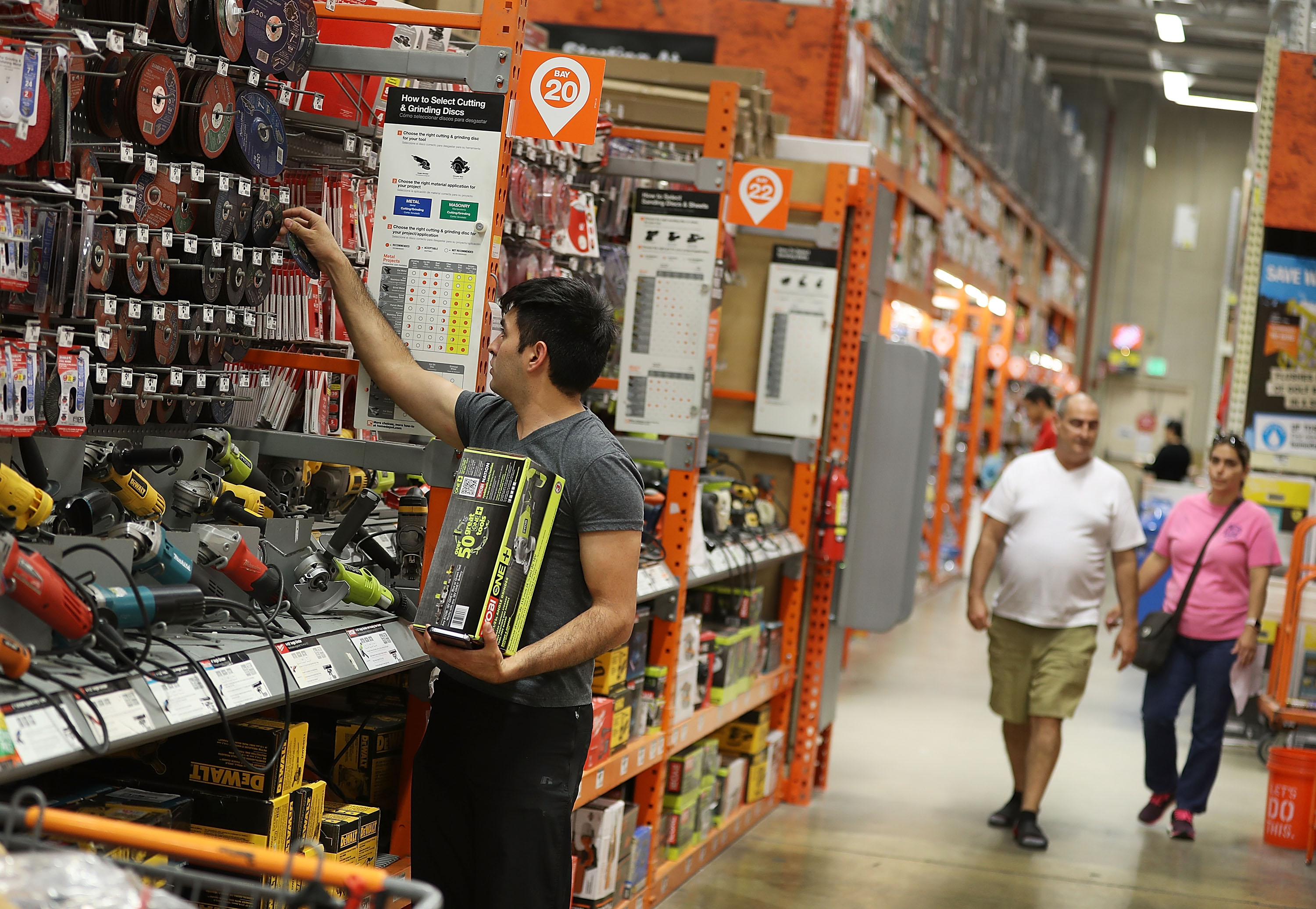 Man shops in a Home Depot store in Miami, Florida.
