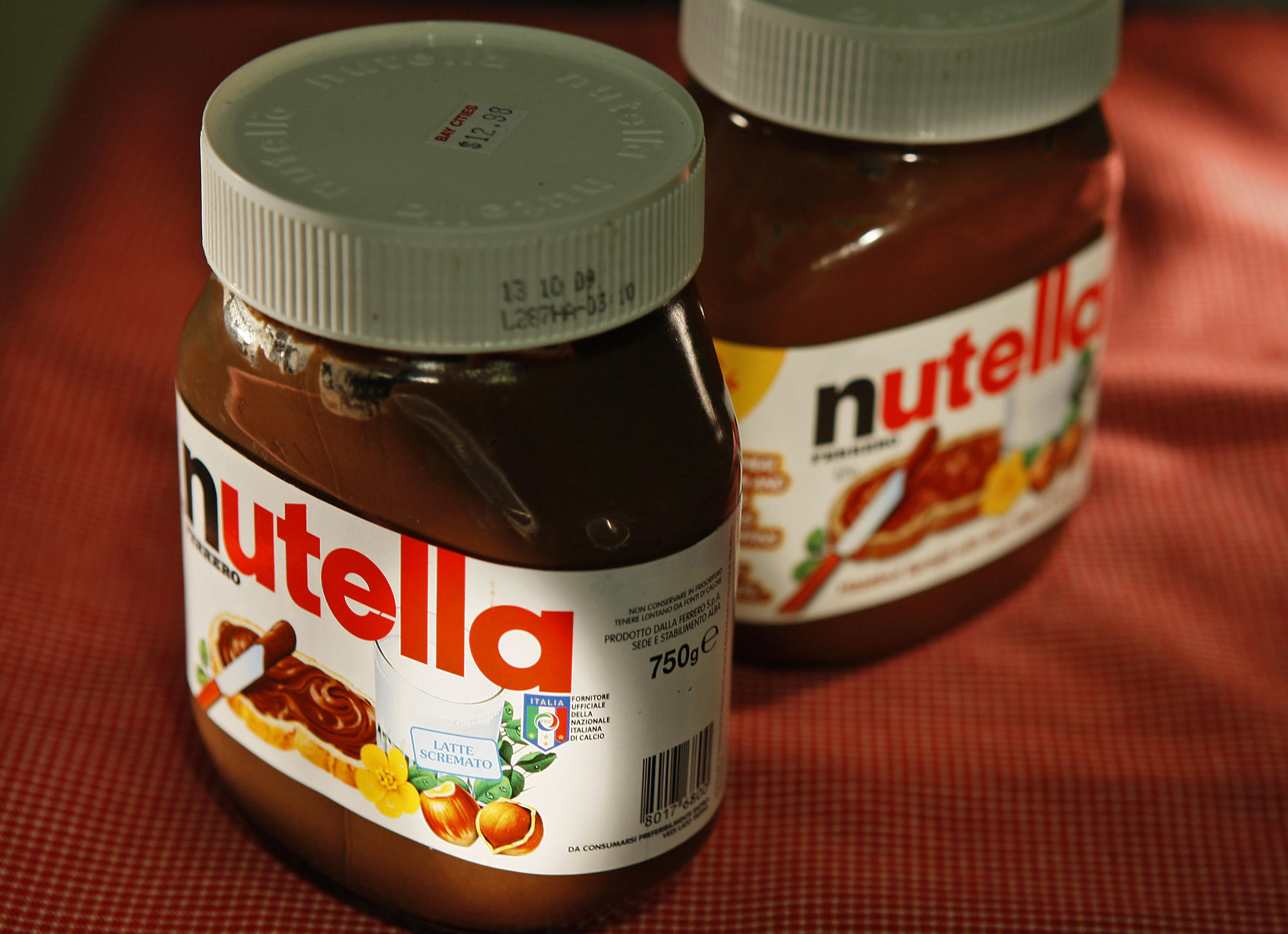 Nutella spread from Italy, left, and made for the USA, in Canada.