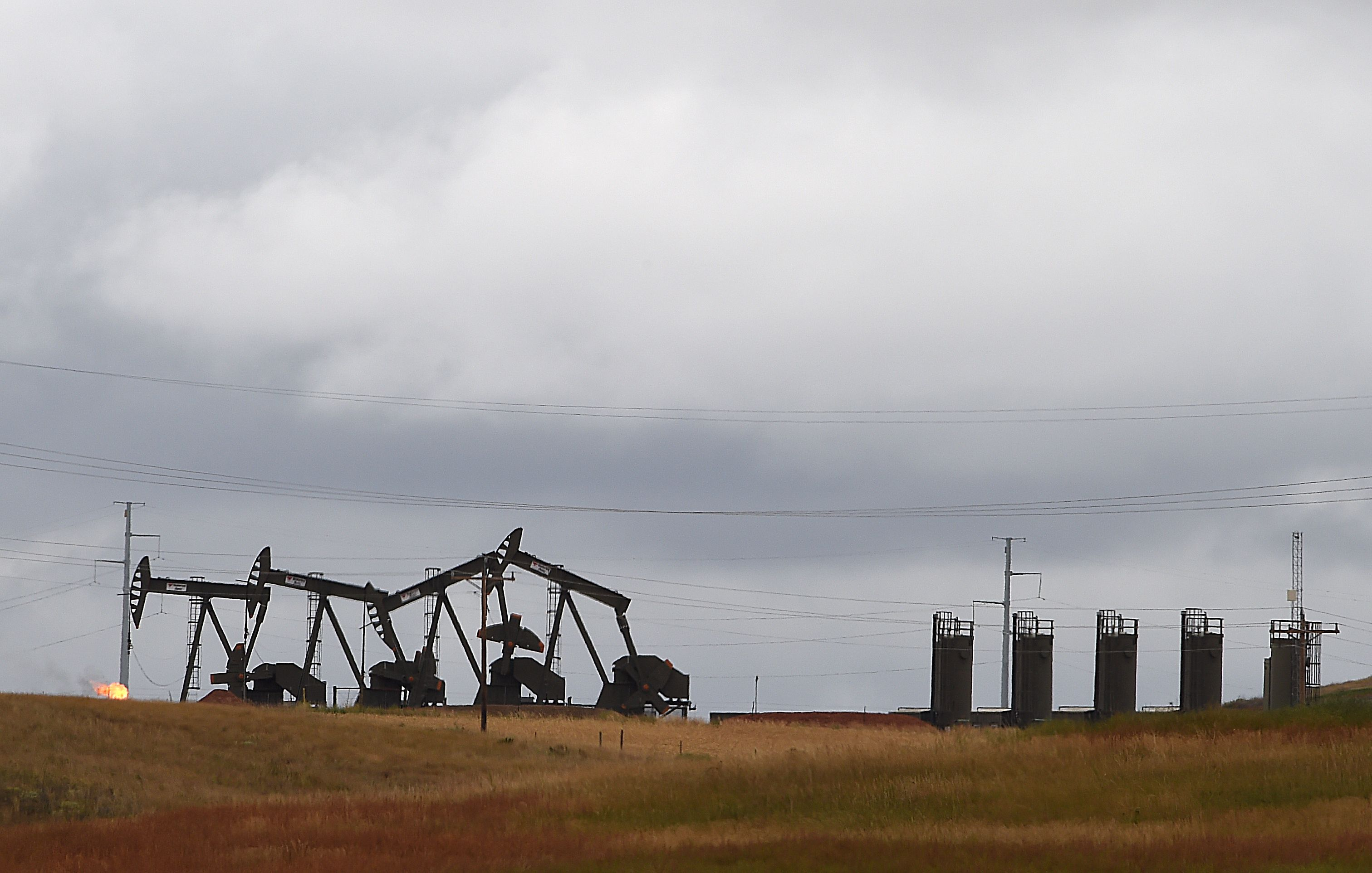Pump jacks are seen on the Bakken Shale Formation, near Williston, North Dakota, September 6, 2016.